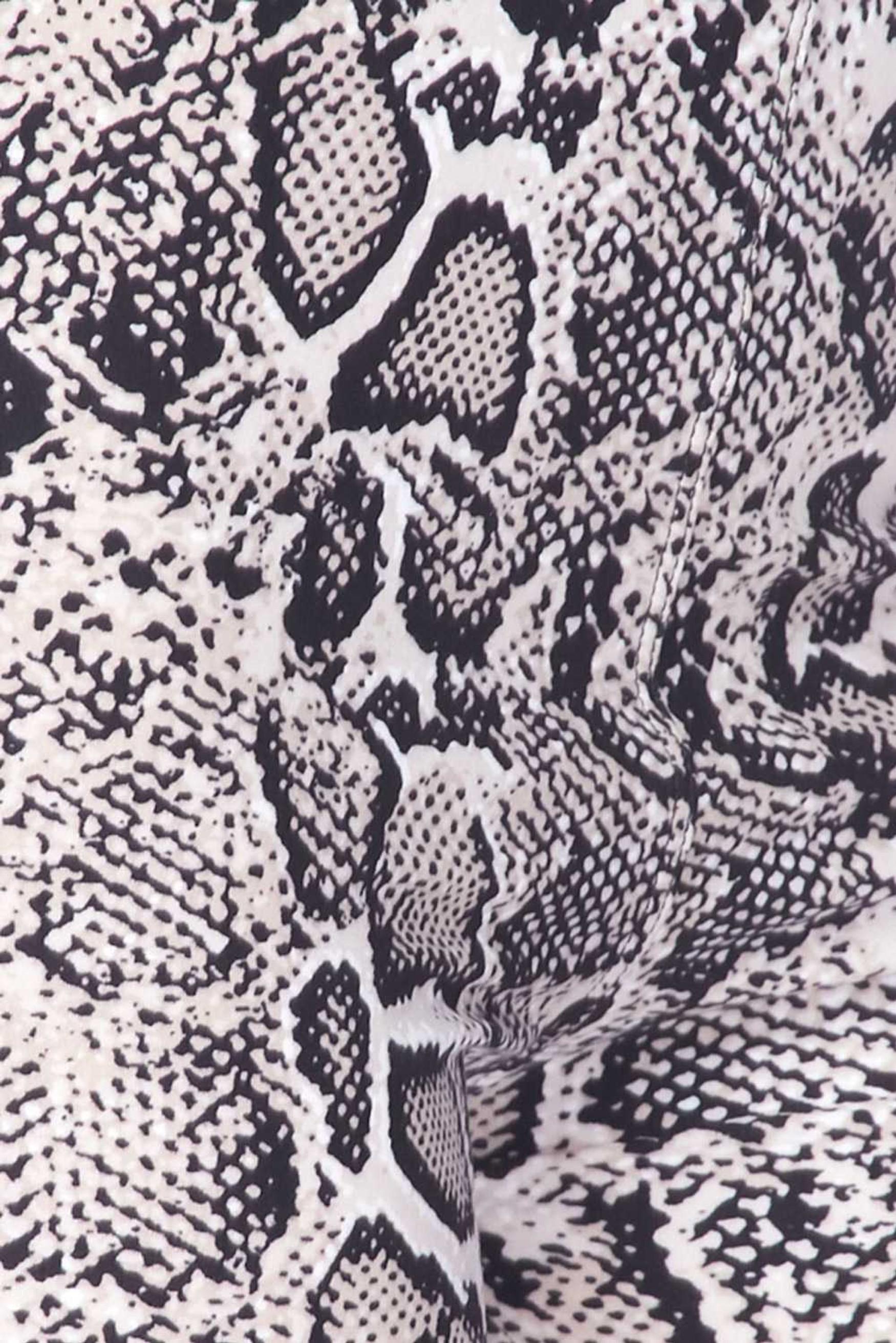 Brushed  Beige Boa Snakeskin Extra Plus Size Leggings - 3X-5X