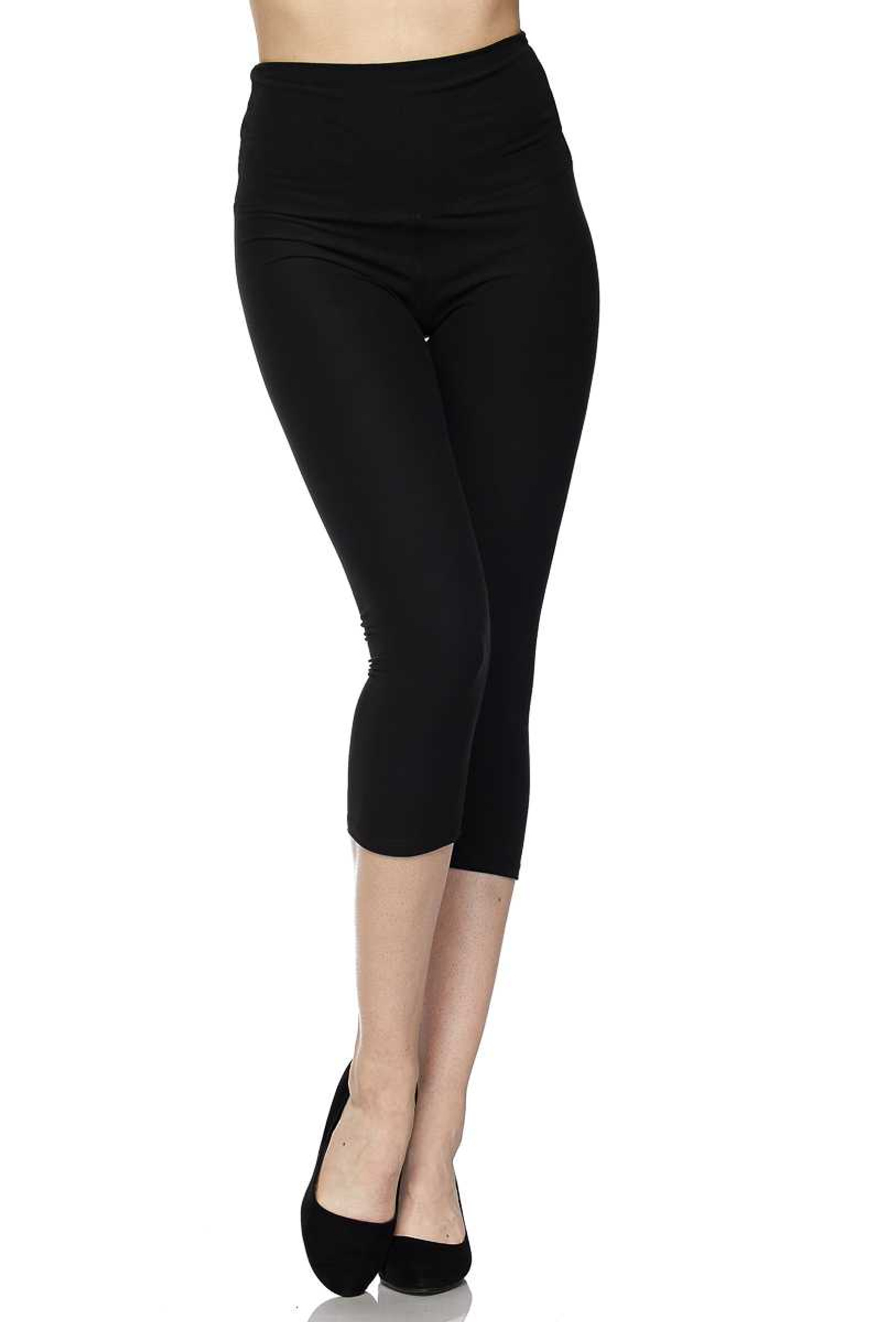 Brushed  Basic Solid High Waisted Extra Plus Size Capris - 5 Inch - 3X-5X  - New Mix