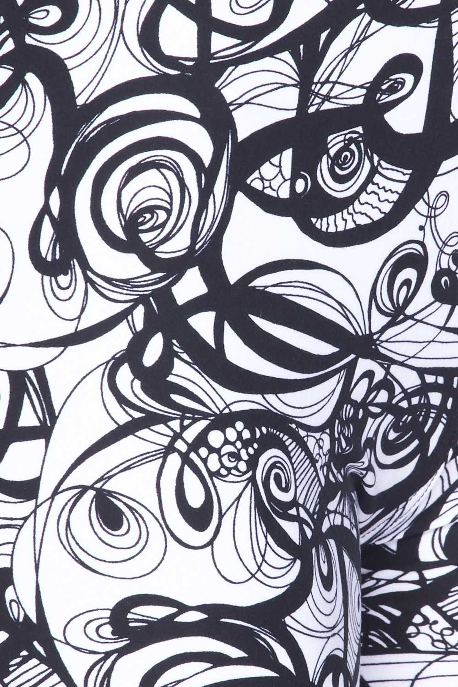 Brushed  Elegant Abstract Swirly Kids Leggings