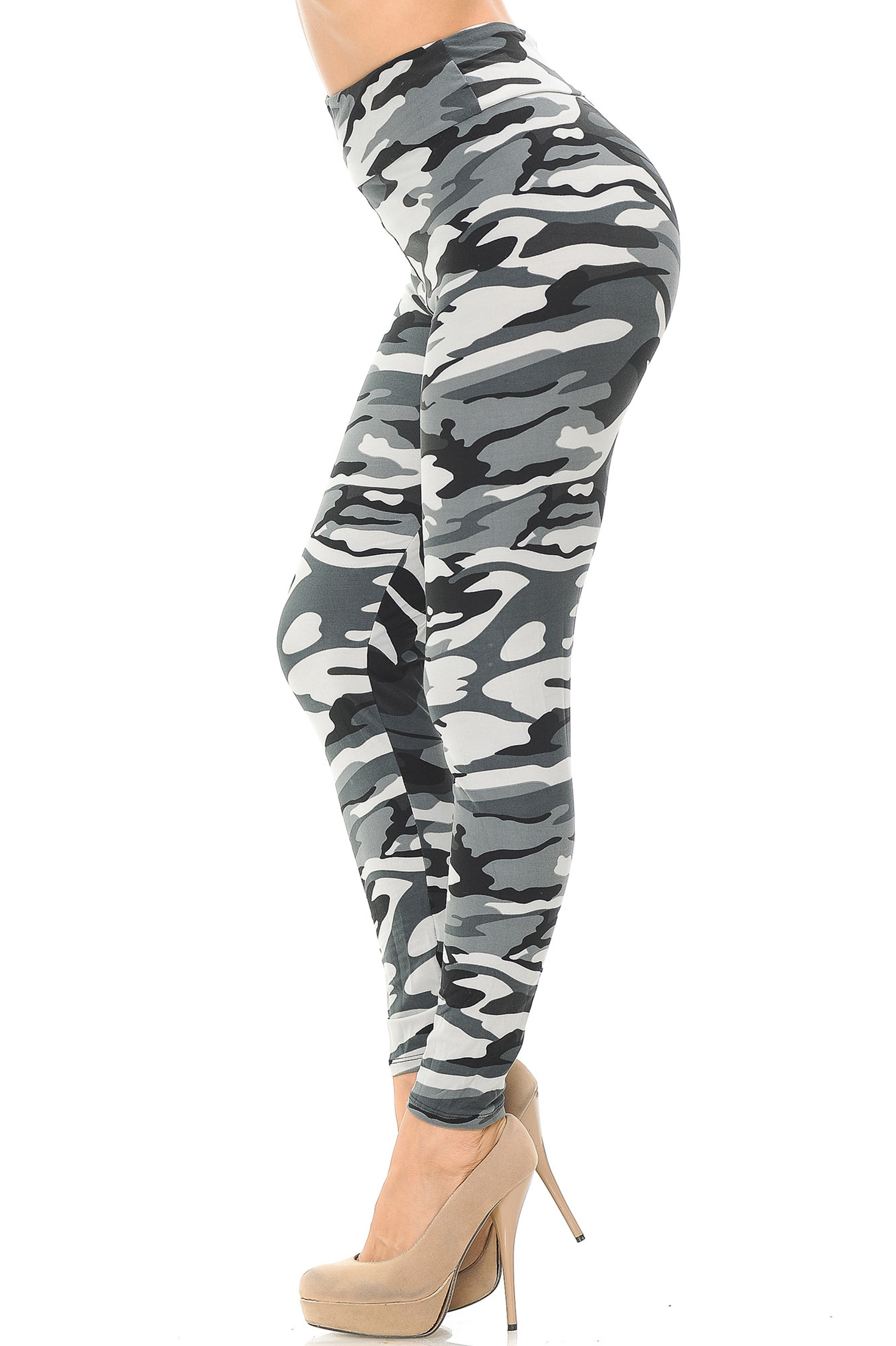 Brushed  Charcoal Camouflage High Waisted Leggings - EEVEE