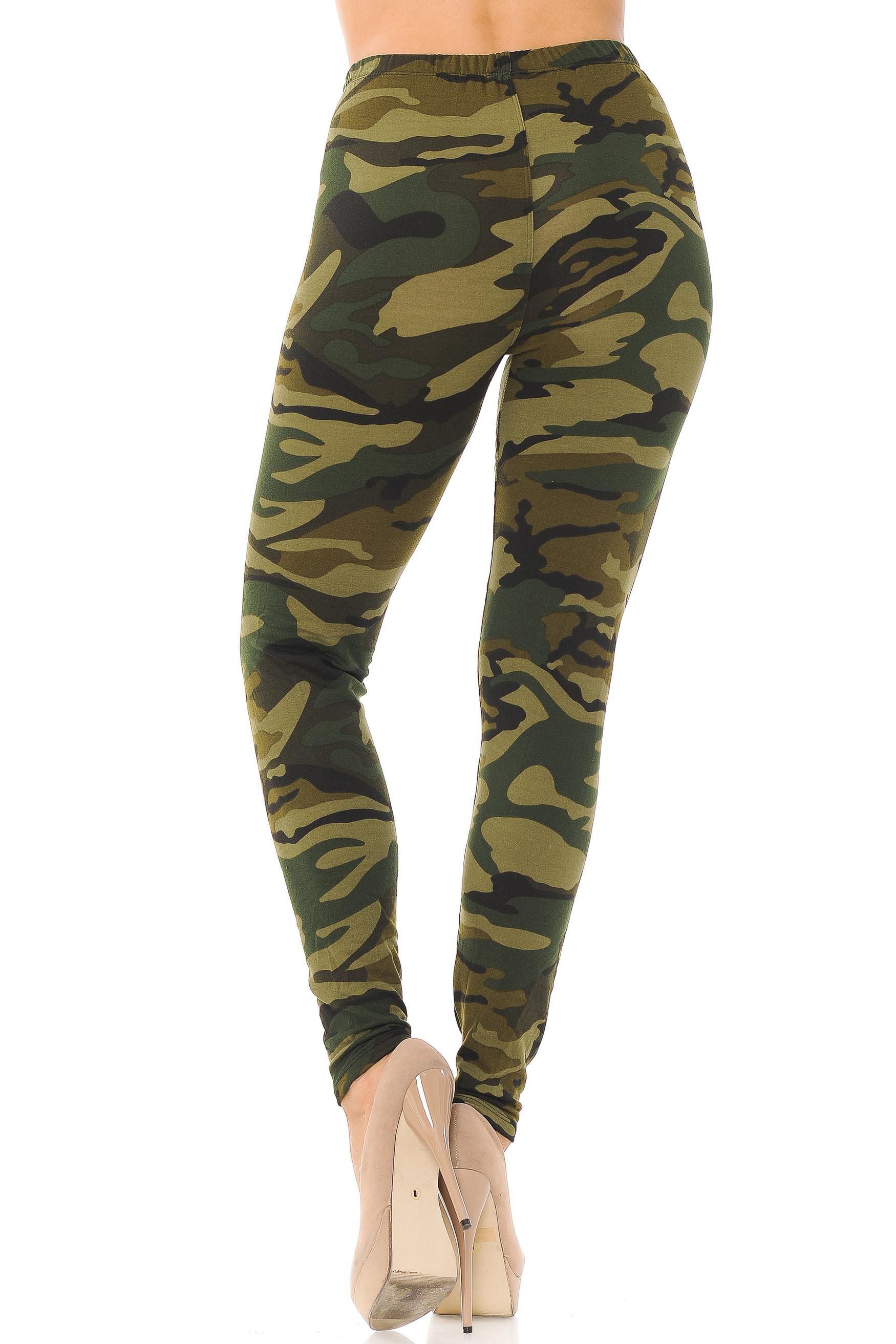 Brushed  Green Camouflage Leggings - EEVEE
