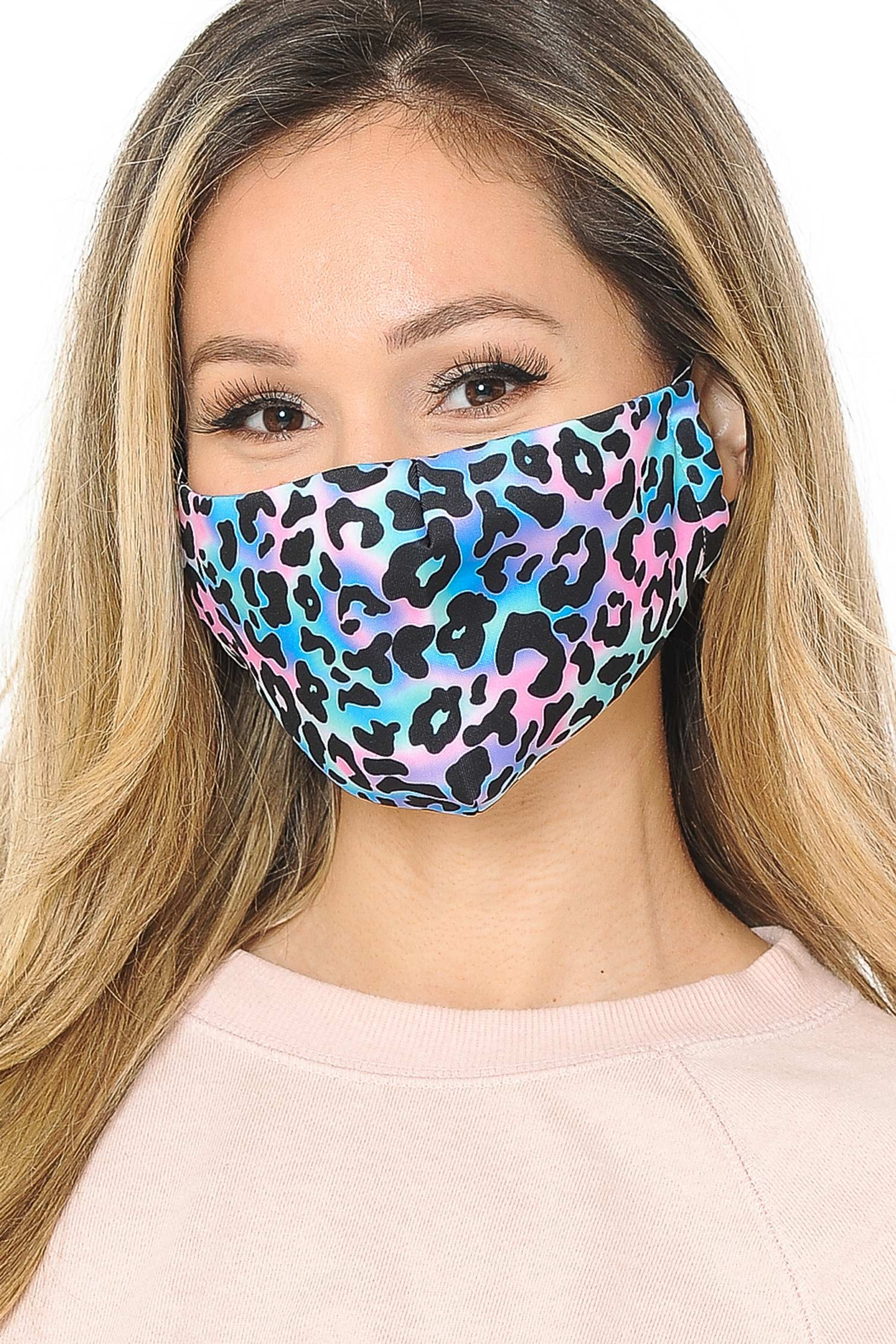 Chromatic Leopard Graphic Print Face Mask
