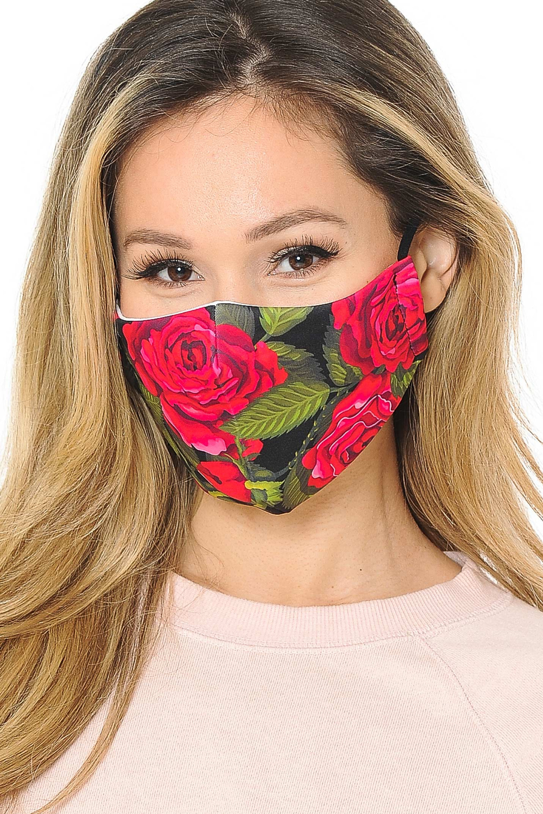 Red Rose Graphic Print Face Mask