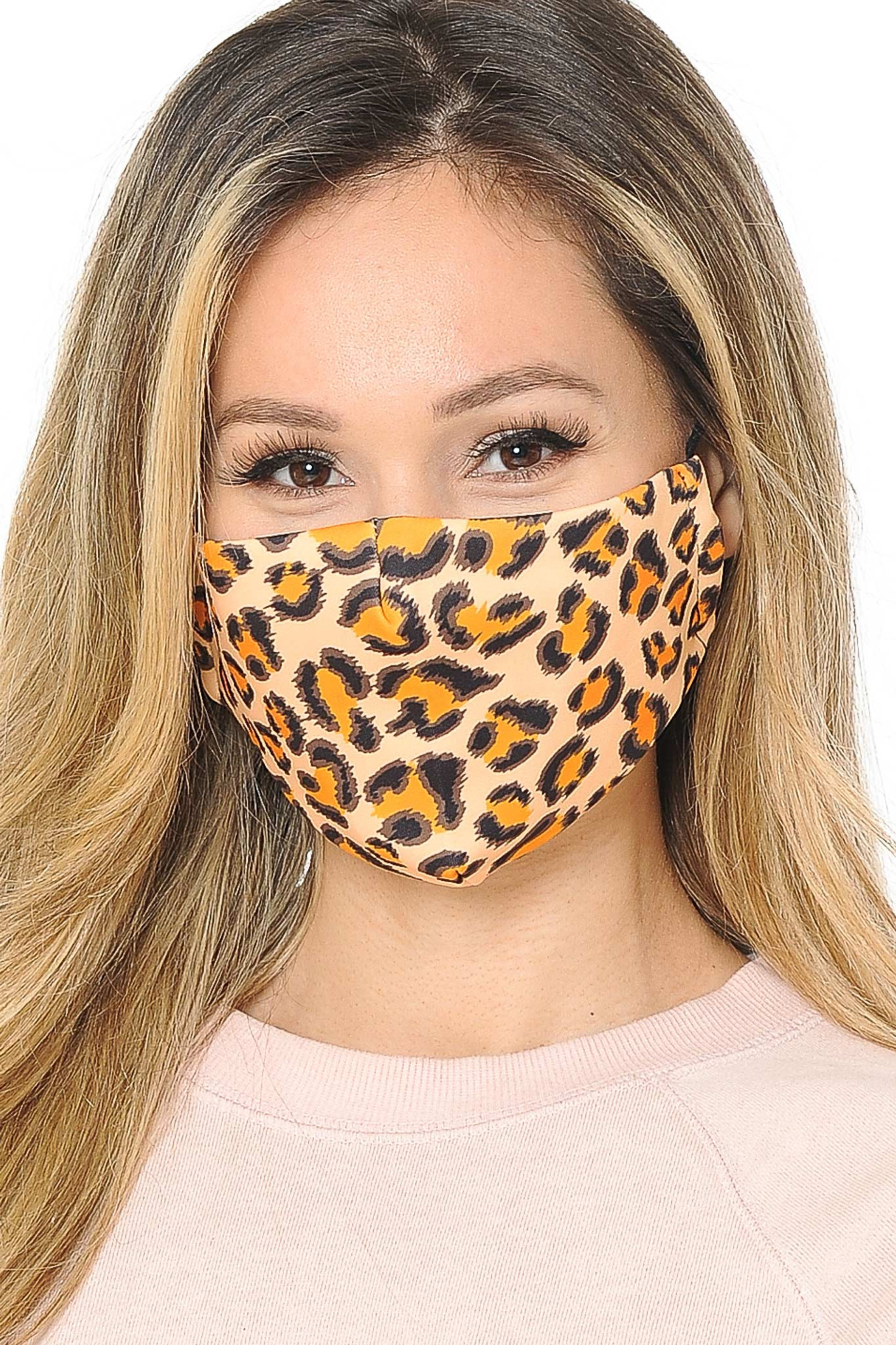 Creamsicle Leopard Graphic Print Face Mask