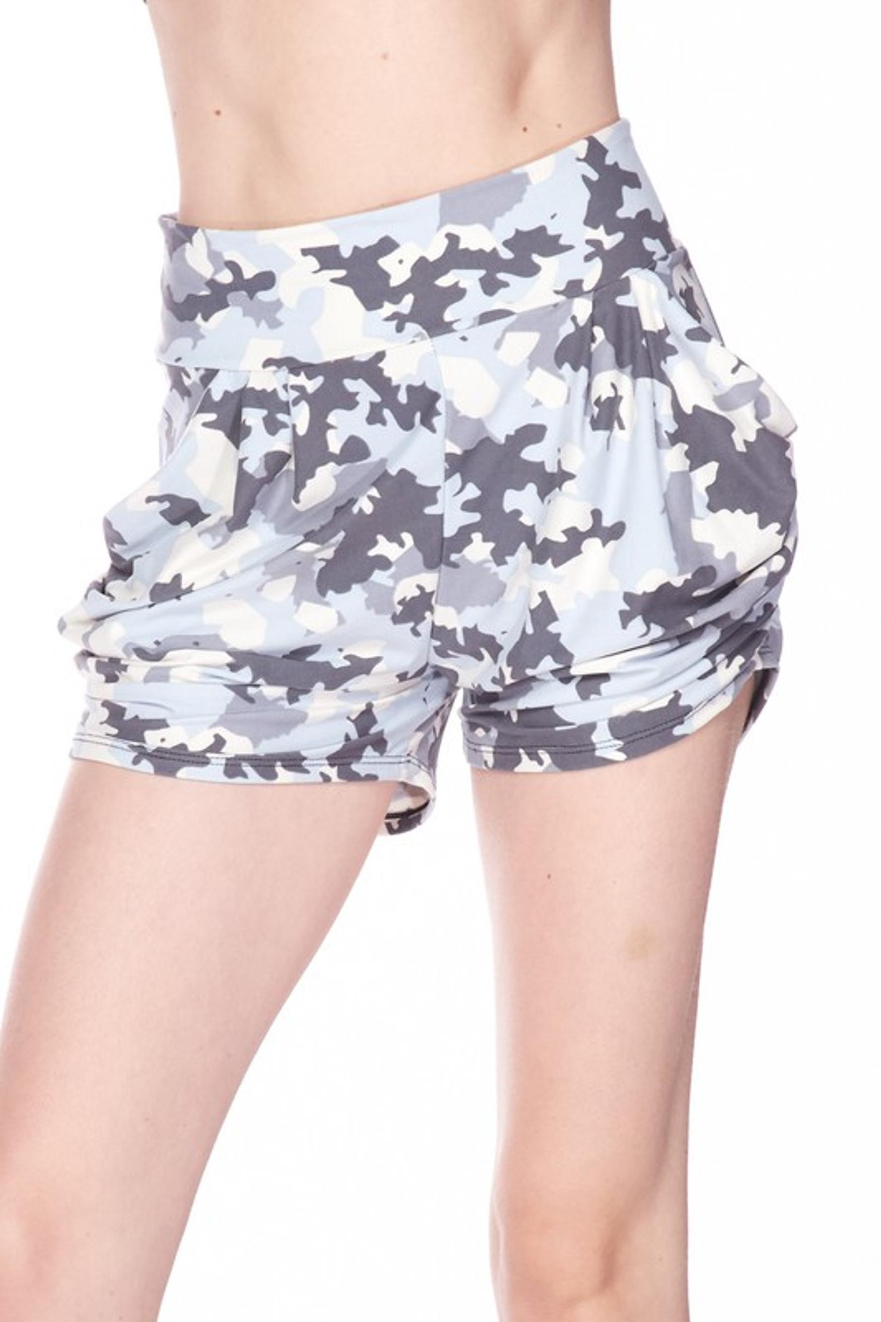 Buttery Soft Light Blue Camouflage Plus Size Harem Shorts