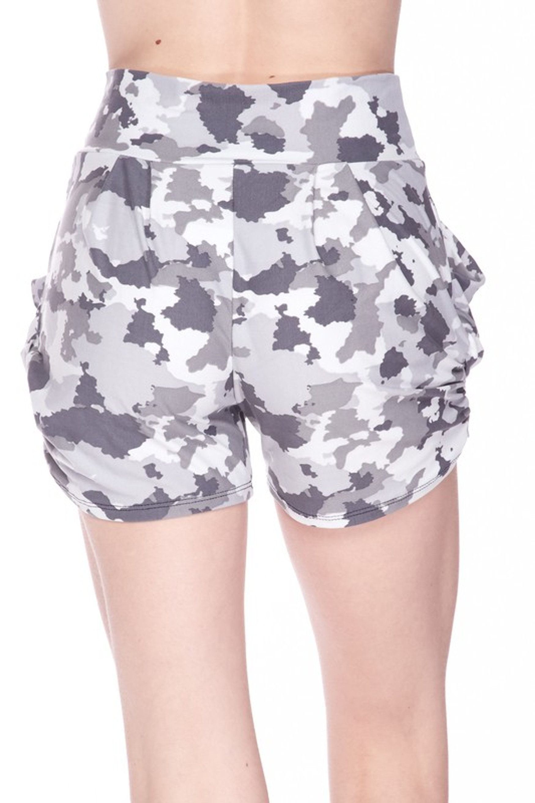 Buttery Soft Pixel White Camouflage Plus Size Harem Shorts