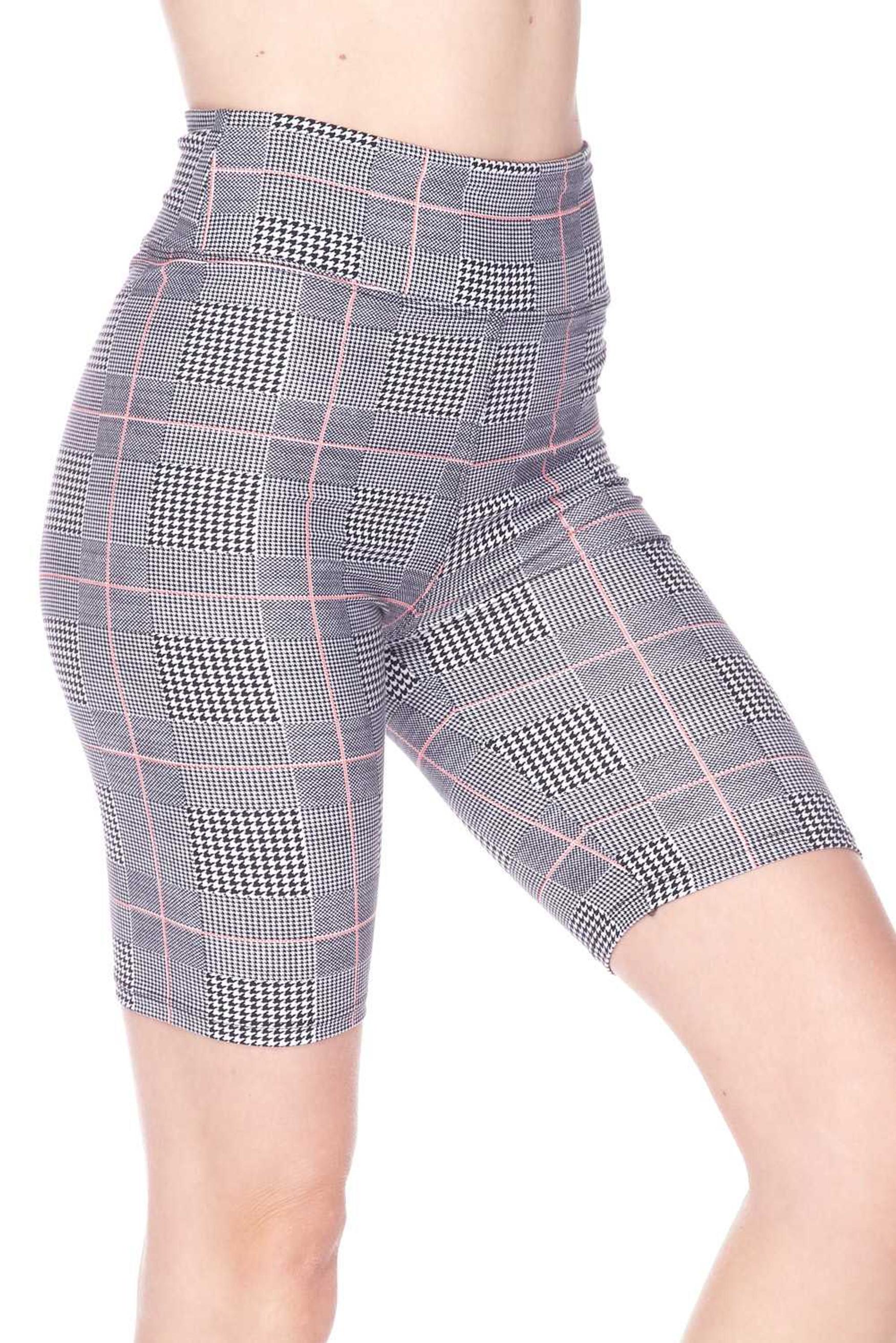 Buttery Soft Coral Accent Glenn Plaid Plus Size Biker Shorts - 3 Inch Waist Band
