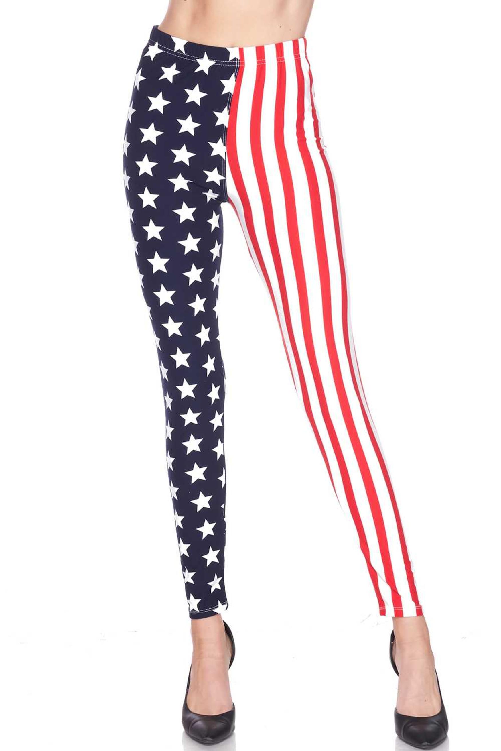 Buttery Soft USA Flag Plus Size Leggings