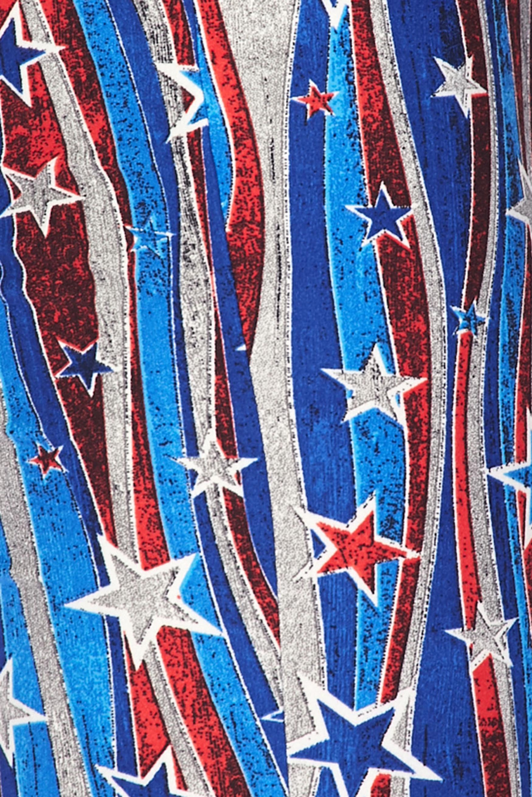 Buttery Soft Metallic USA Flag Bell Bottom Leggings