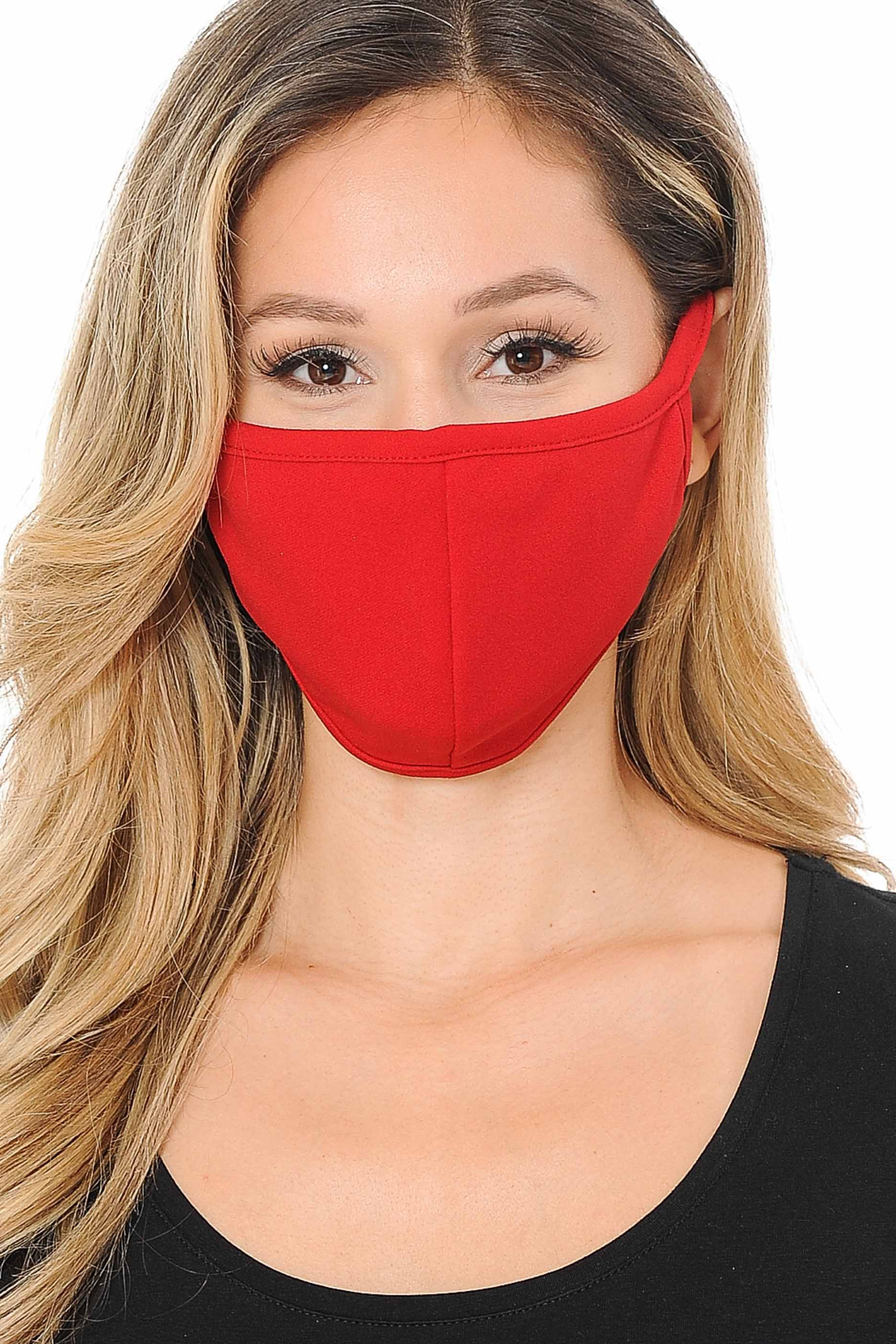 Summer Red Scuba Knit Face Mask - Made in the USA