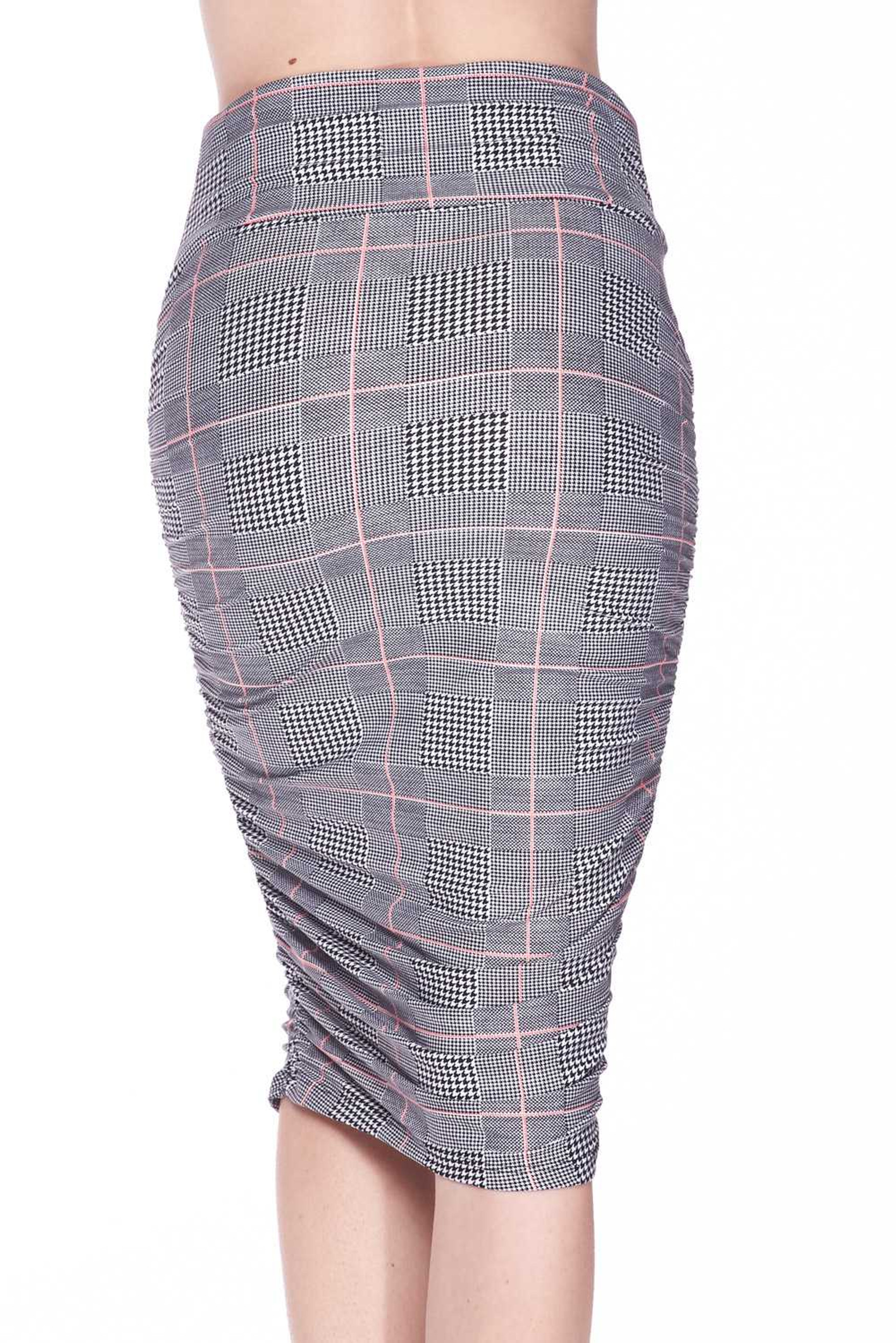 Buttery Soft Coral Accent Glenn Plaid Pencil Skirt