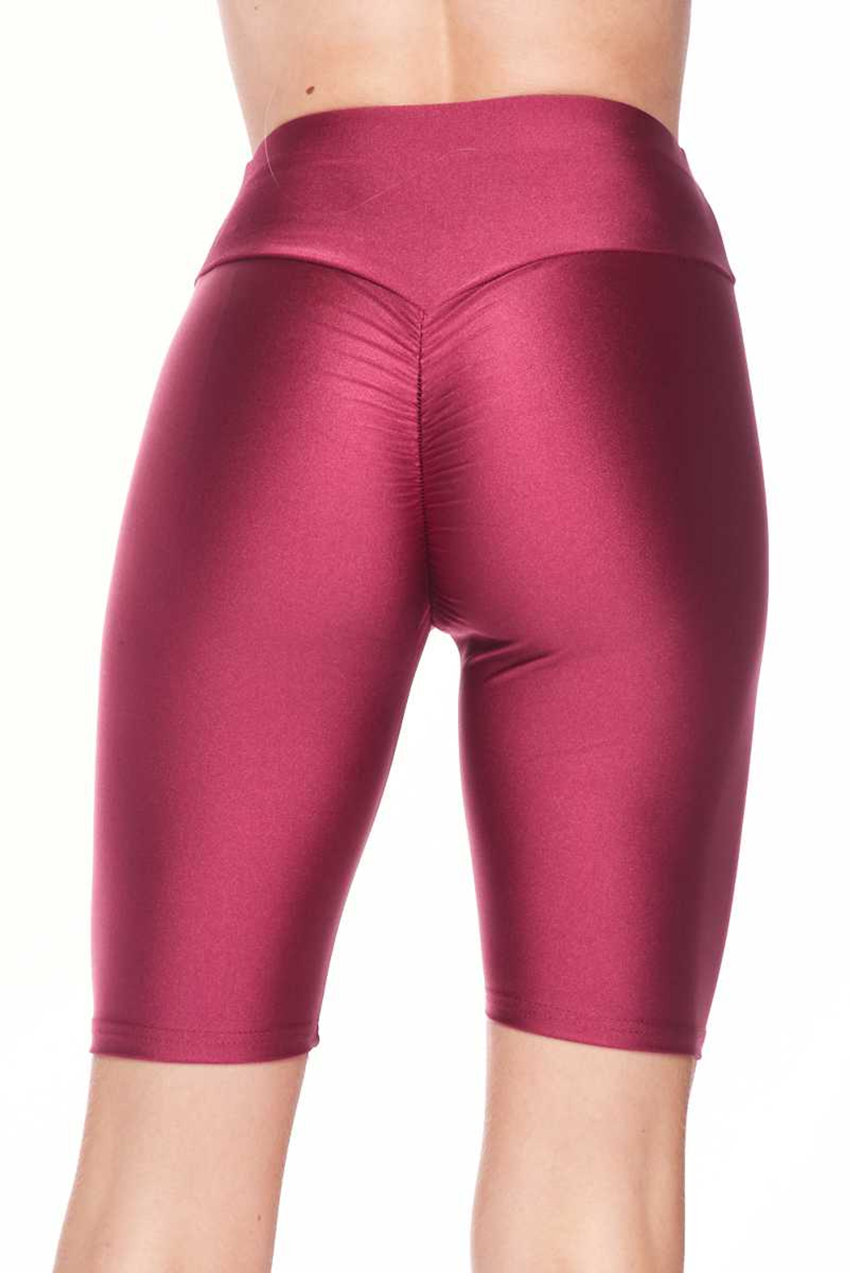 Shiny Scrunch Butt Lifting High Waisted Biker Short