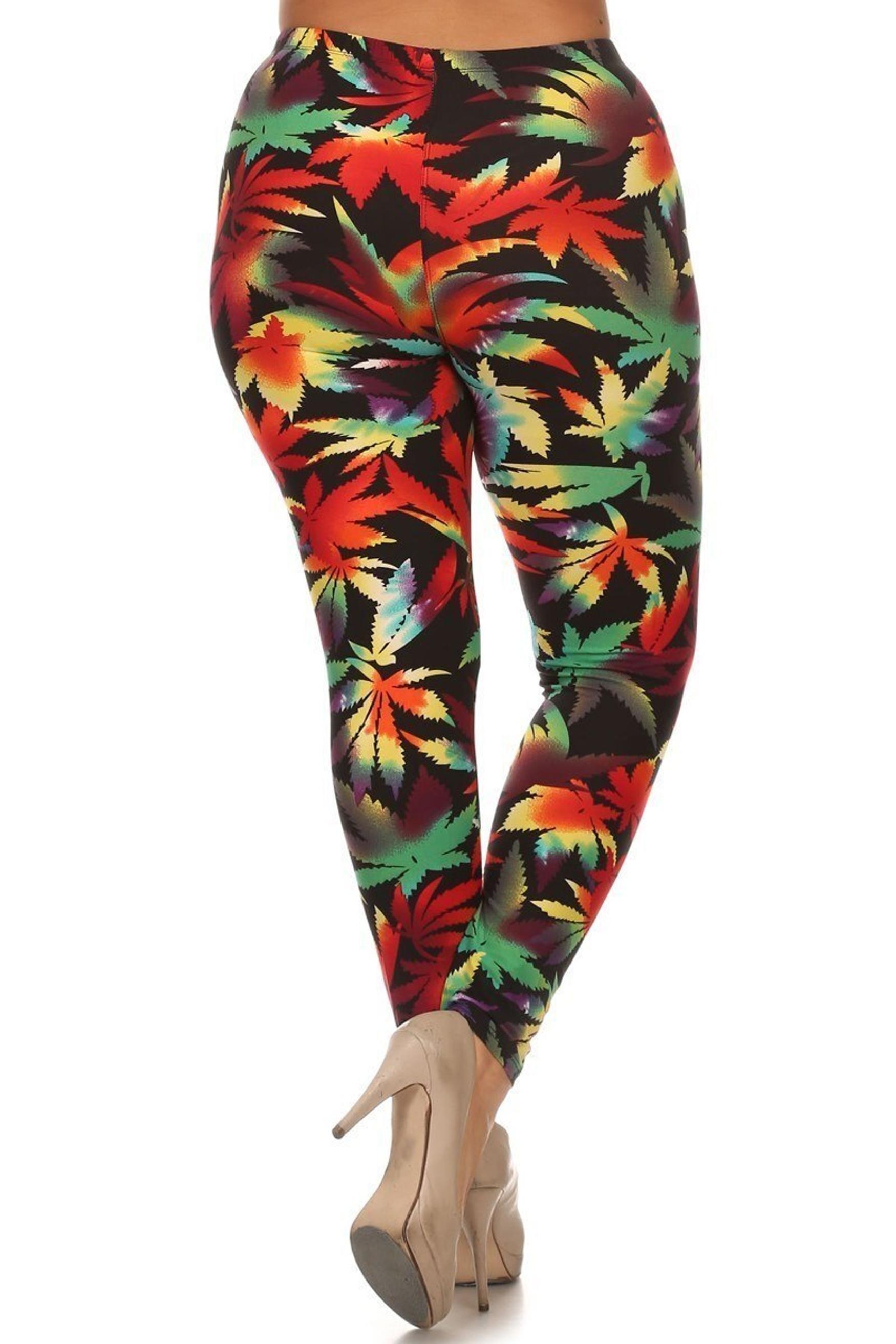 Buttery Soft Rainbow Marijuana Plus Size Leggings