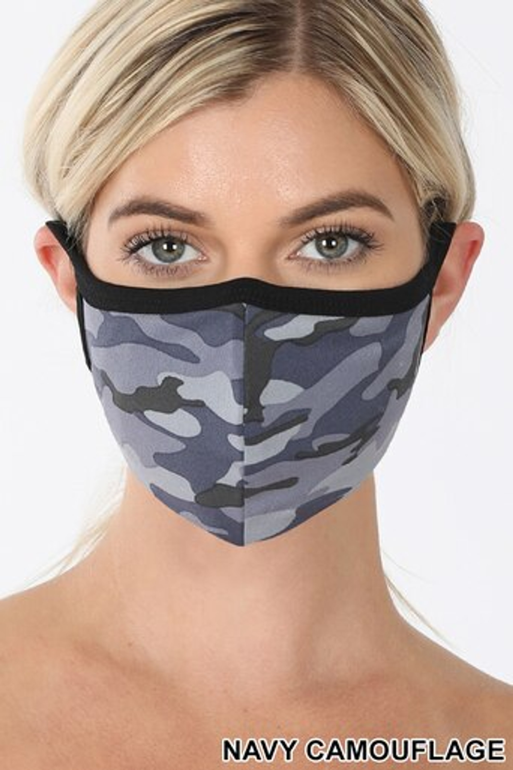 Navy Camouflage Face Mask - Imported
