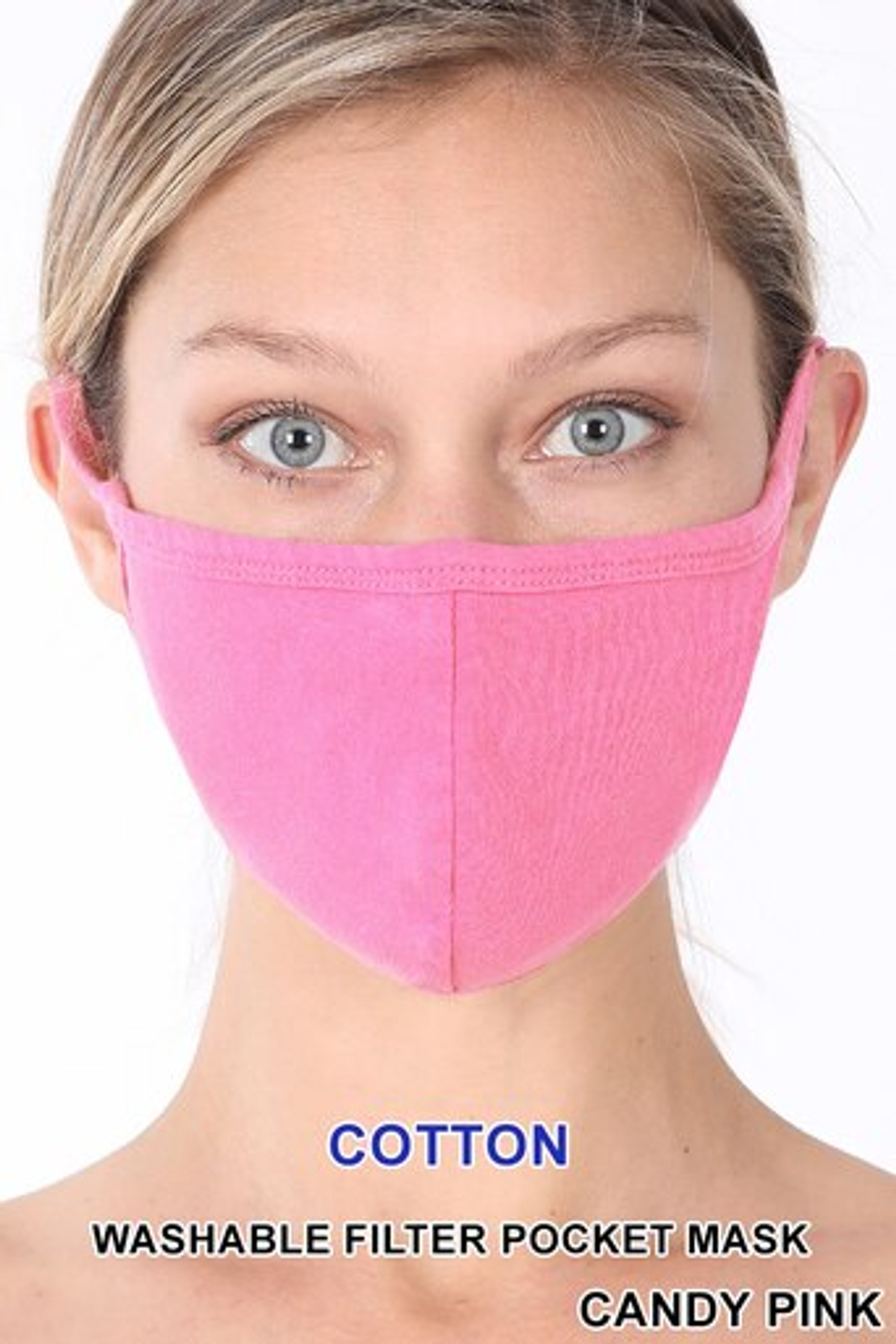 Candy Pink Solid Cotton Face Mask - Imported
