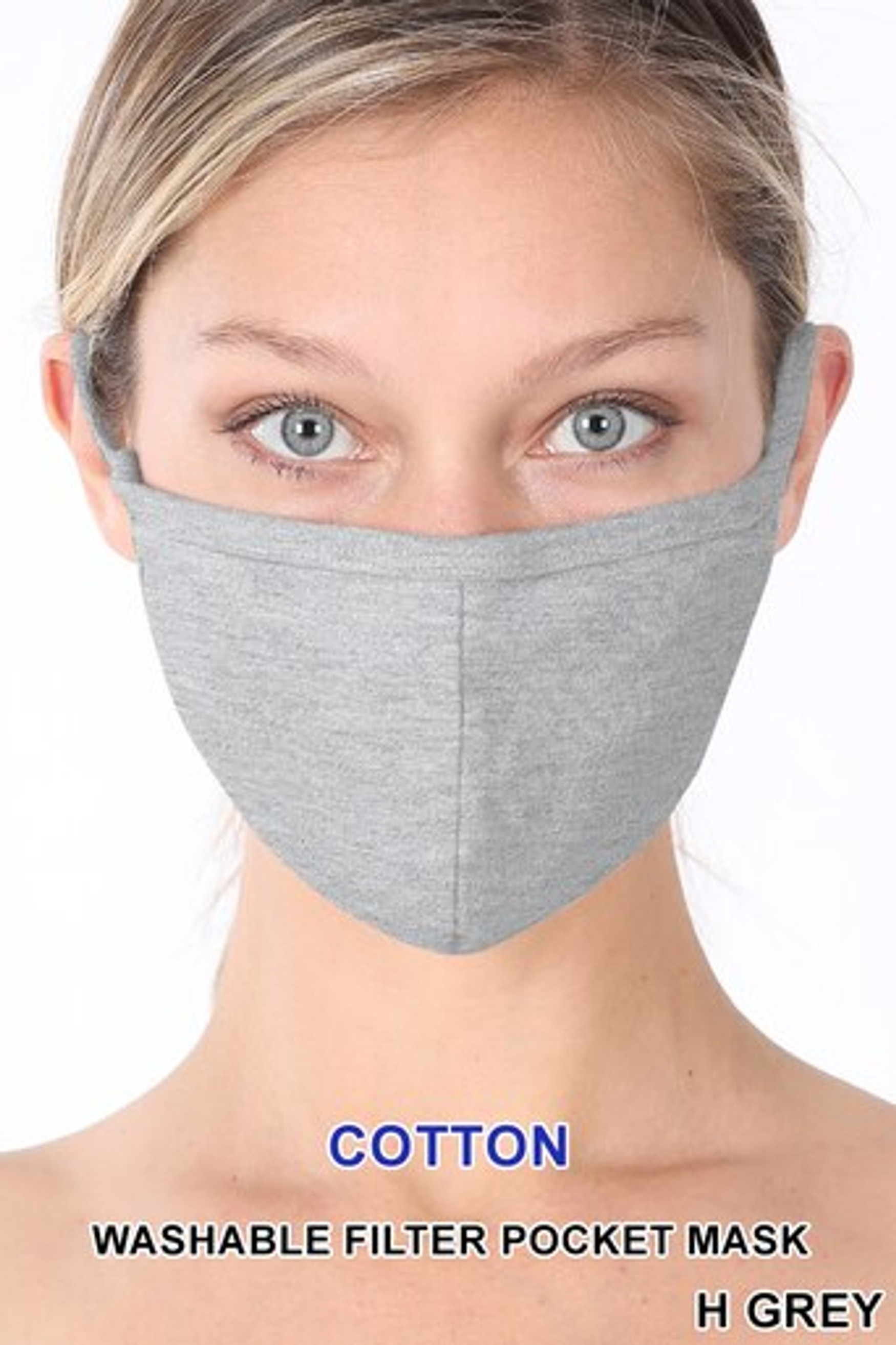 Heather Grey Solid Cotton Face Mask - Imported