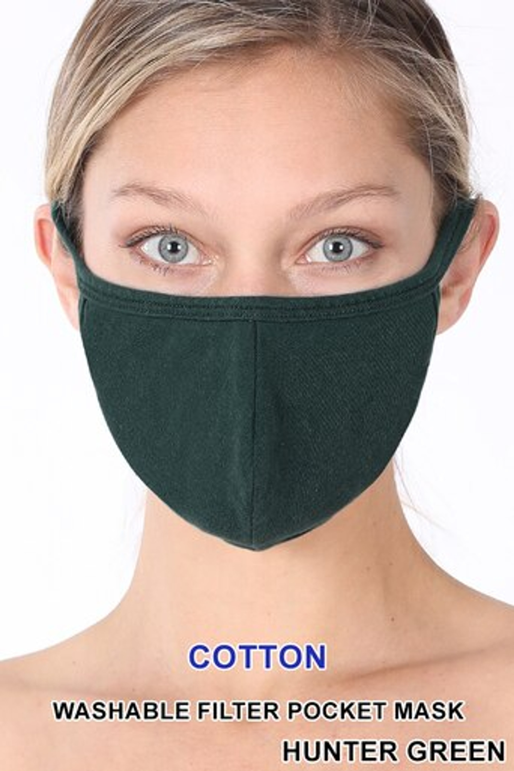 Hunter Green Solid Cotton Face Mask - Imported