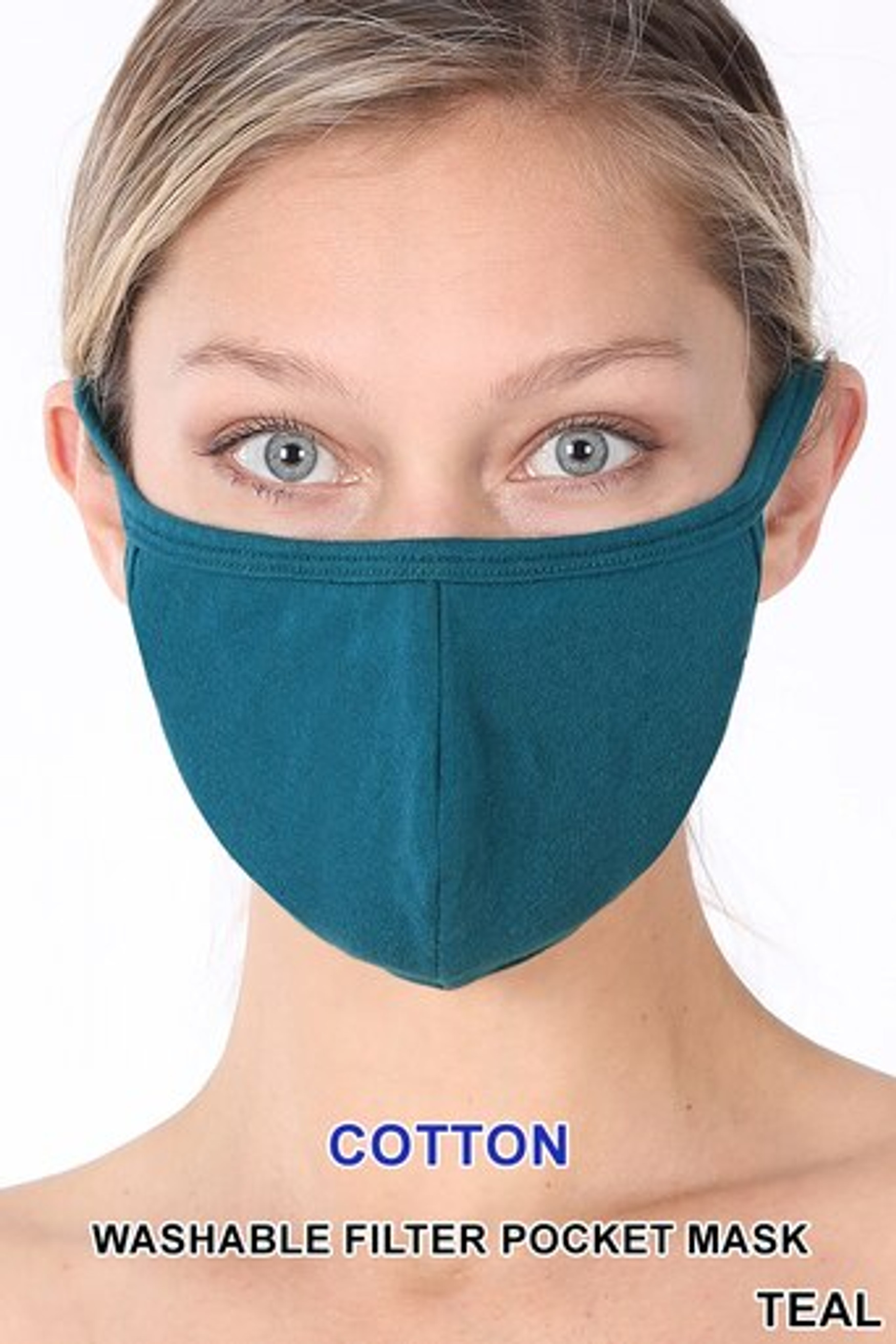 Teal Solid Cotton Face Mask - Imported