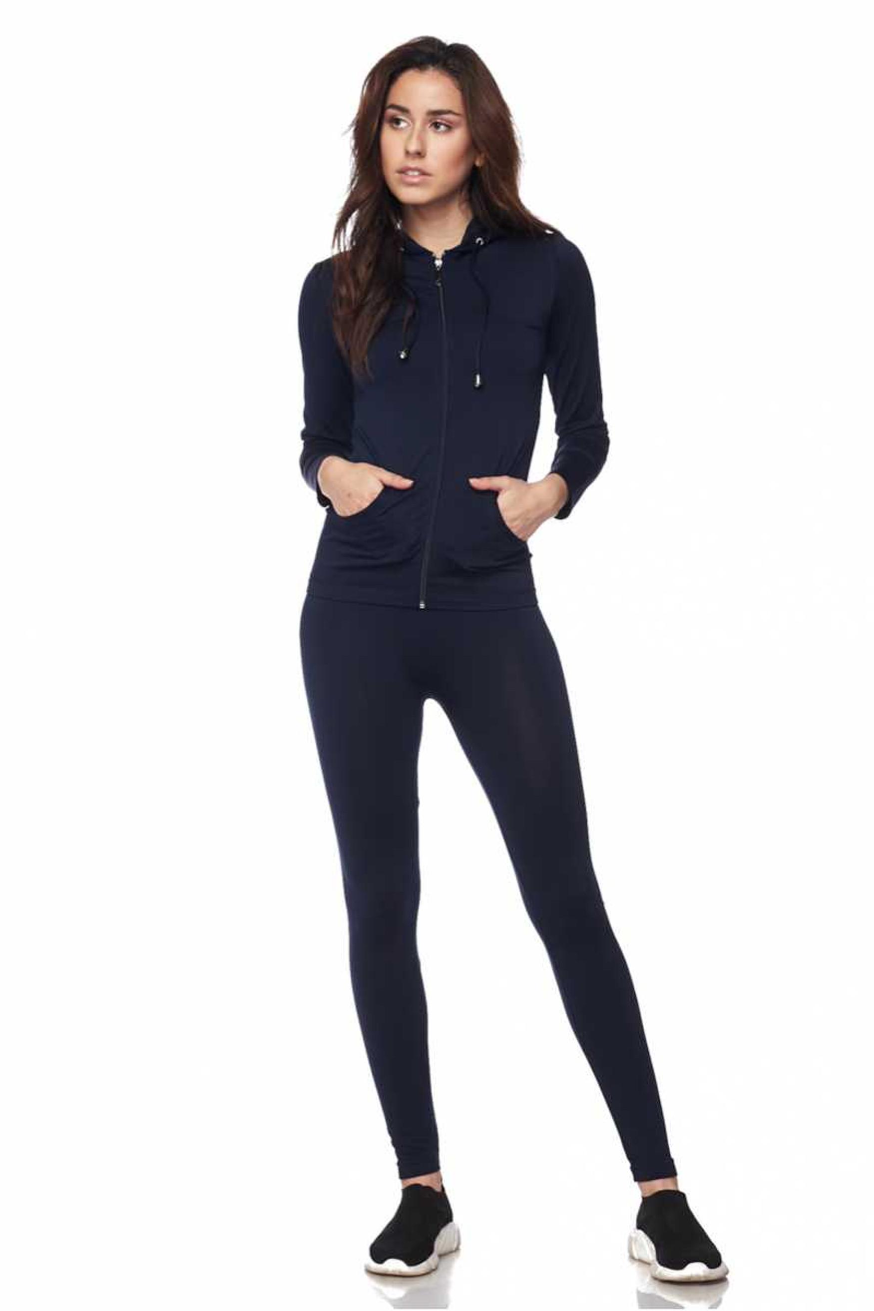 Premium Zipper Hoodie Jacket and Legging Set - Plus Size
