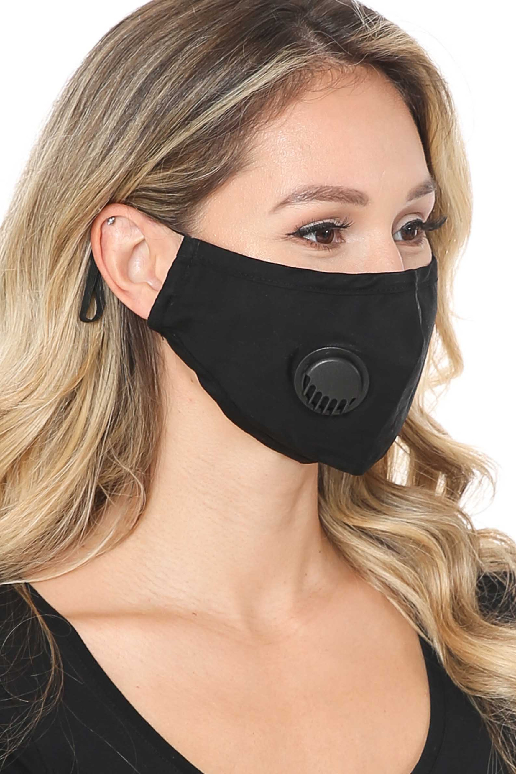 Solid Black Face Mask with Air Valve