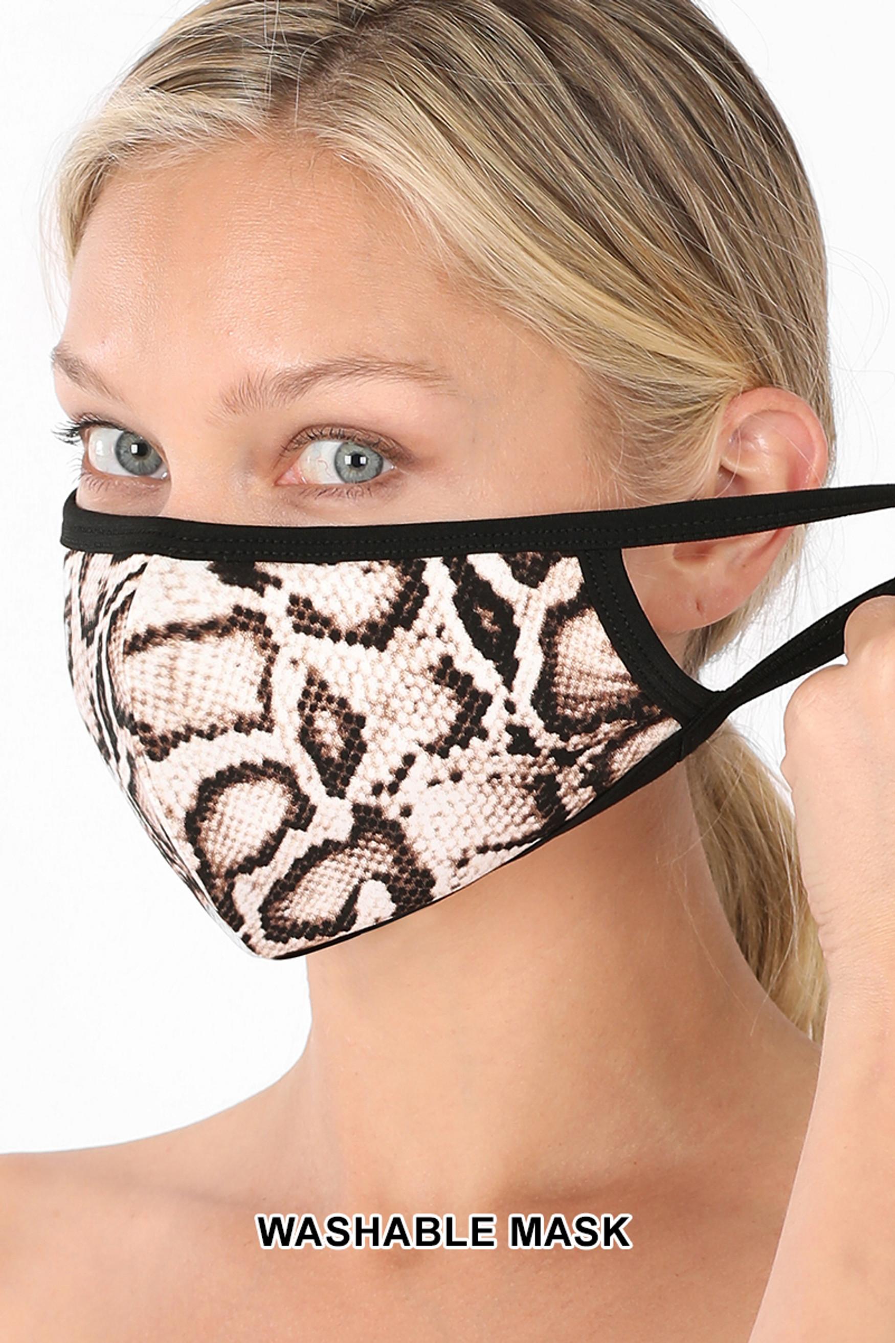 Brown Side Snakeskin Face Mask - Imported