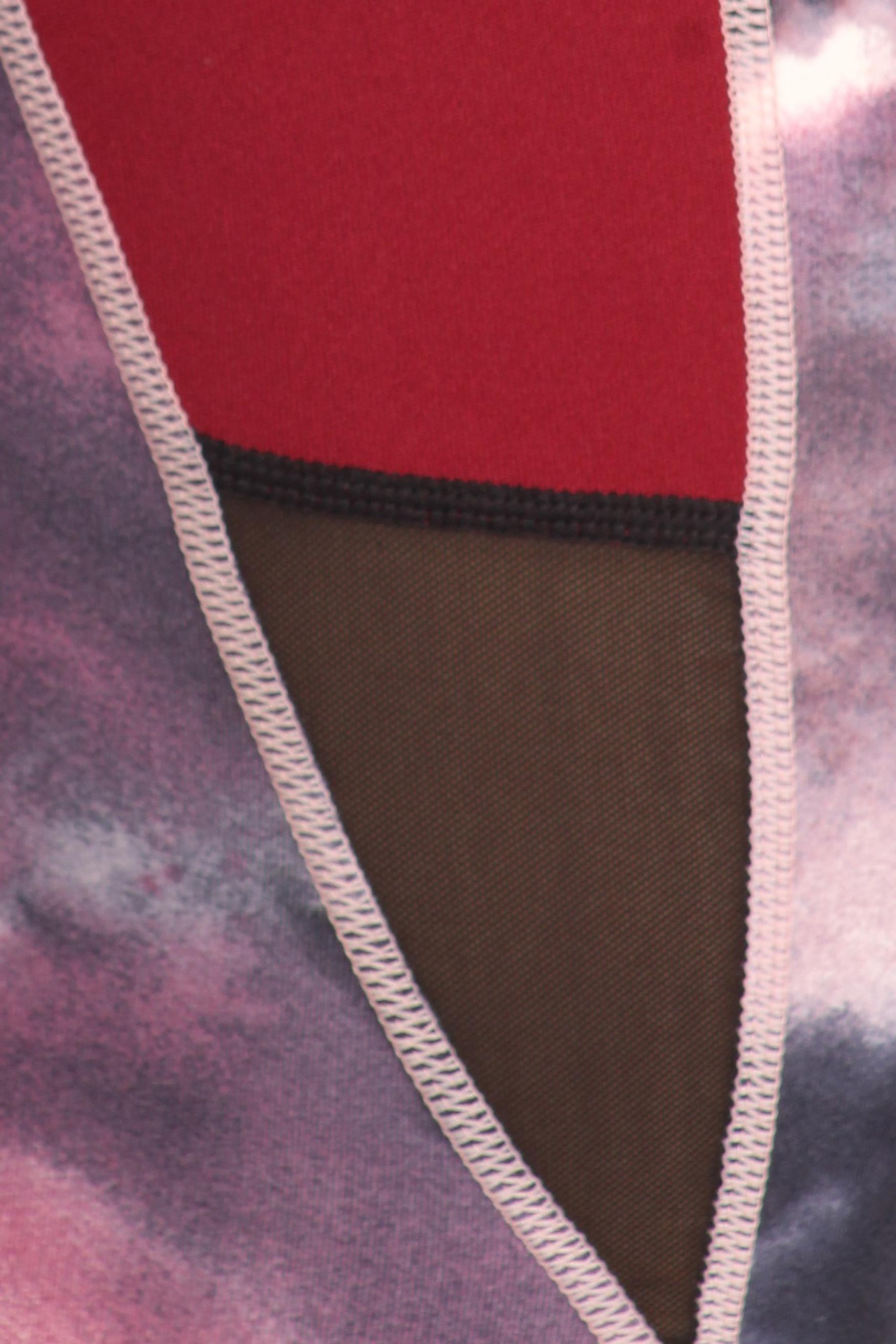 Red Tie Dye Sport Mesh Top and Capri Set