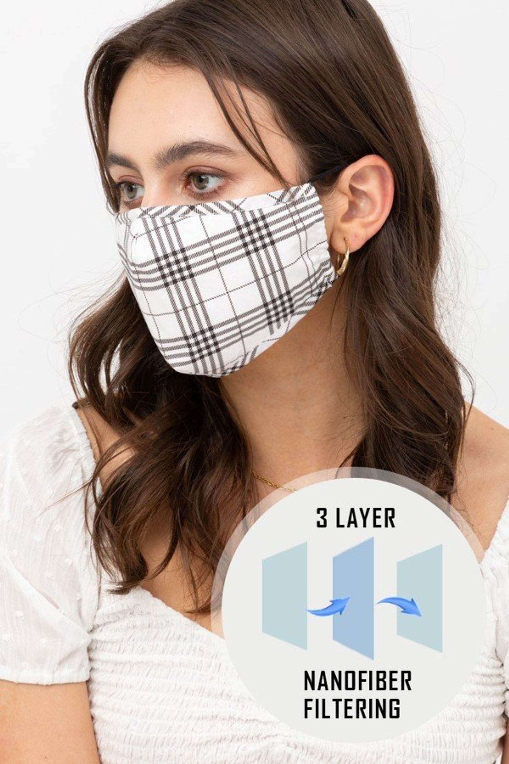 Plaid Face Mask with Built In Micro Filter and Nose Bar