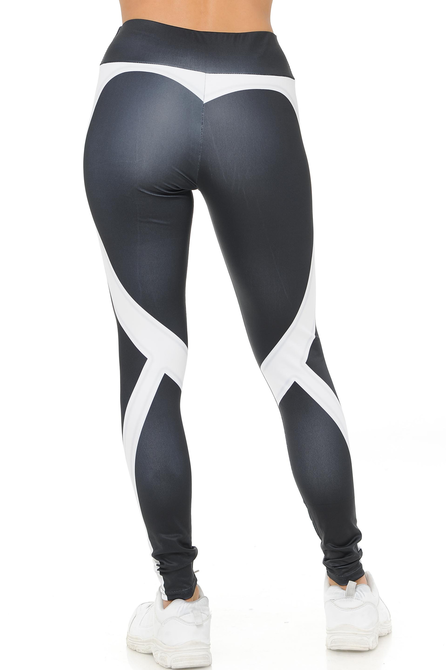 White Contouring Banded Heart Workout Leggings