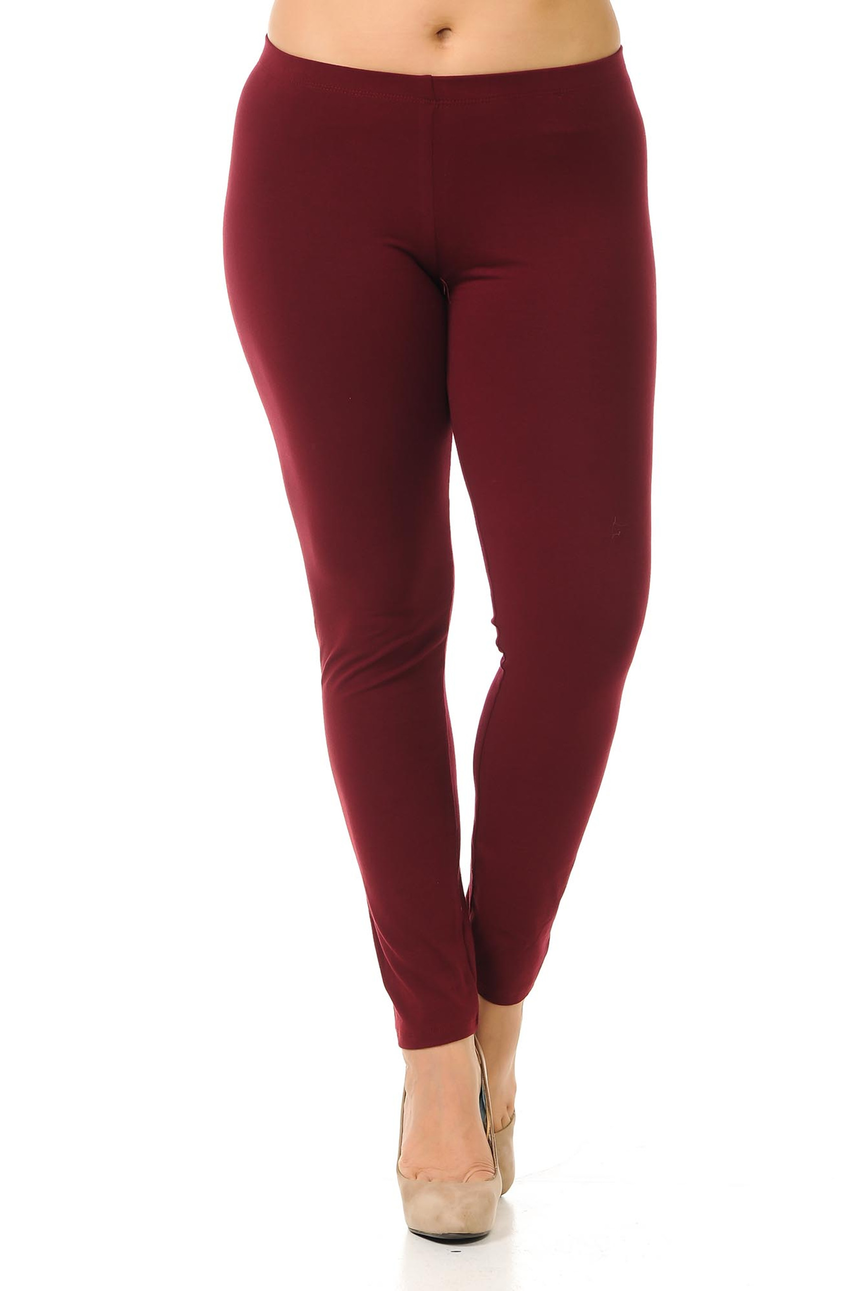 Front view image of full length plus size made int he USA cotton leggings in burgundy.