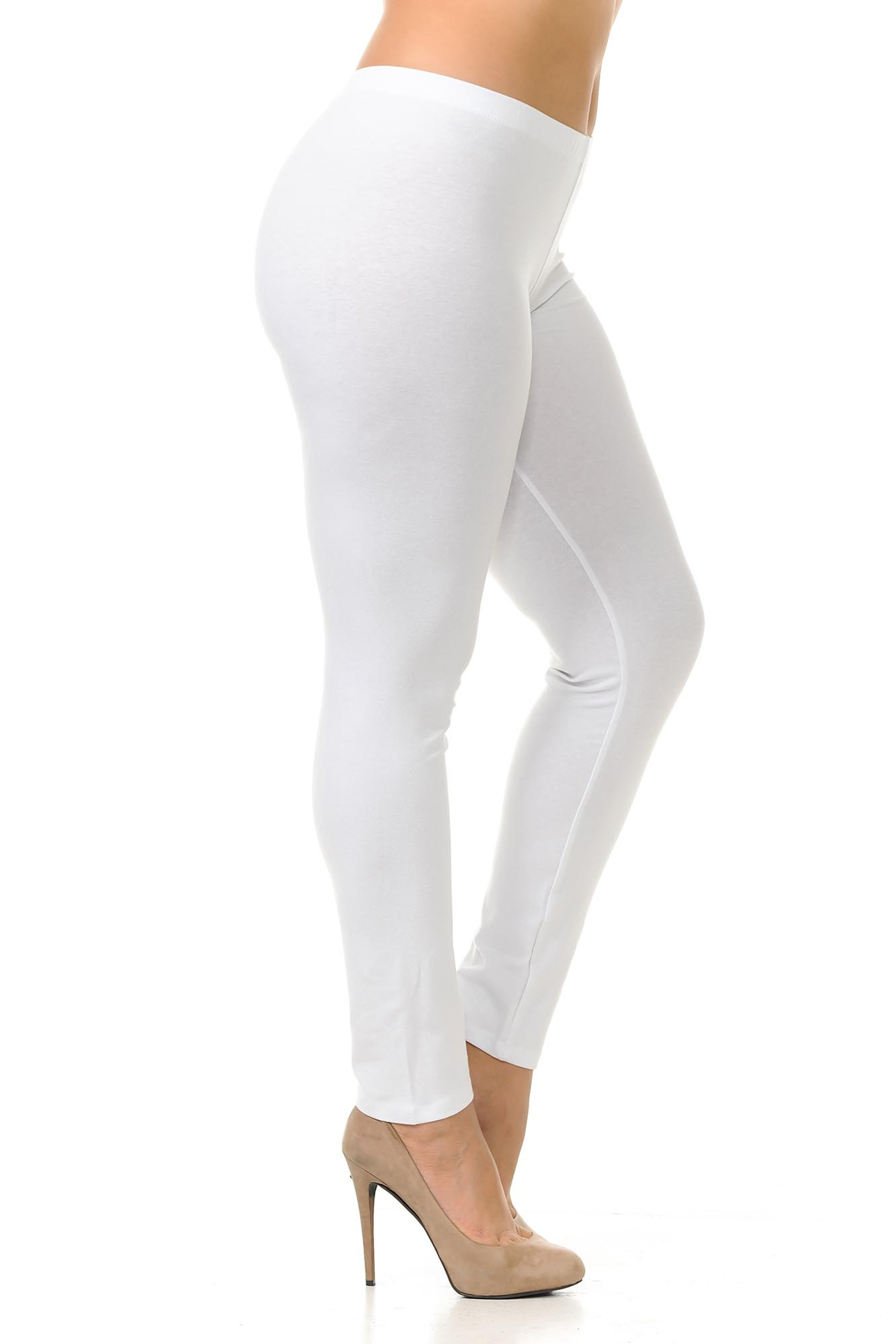 Right side view of white plus size USA Cotton Full Length Leggings.