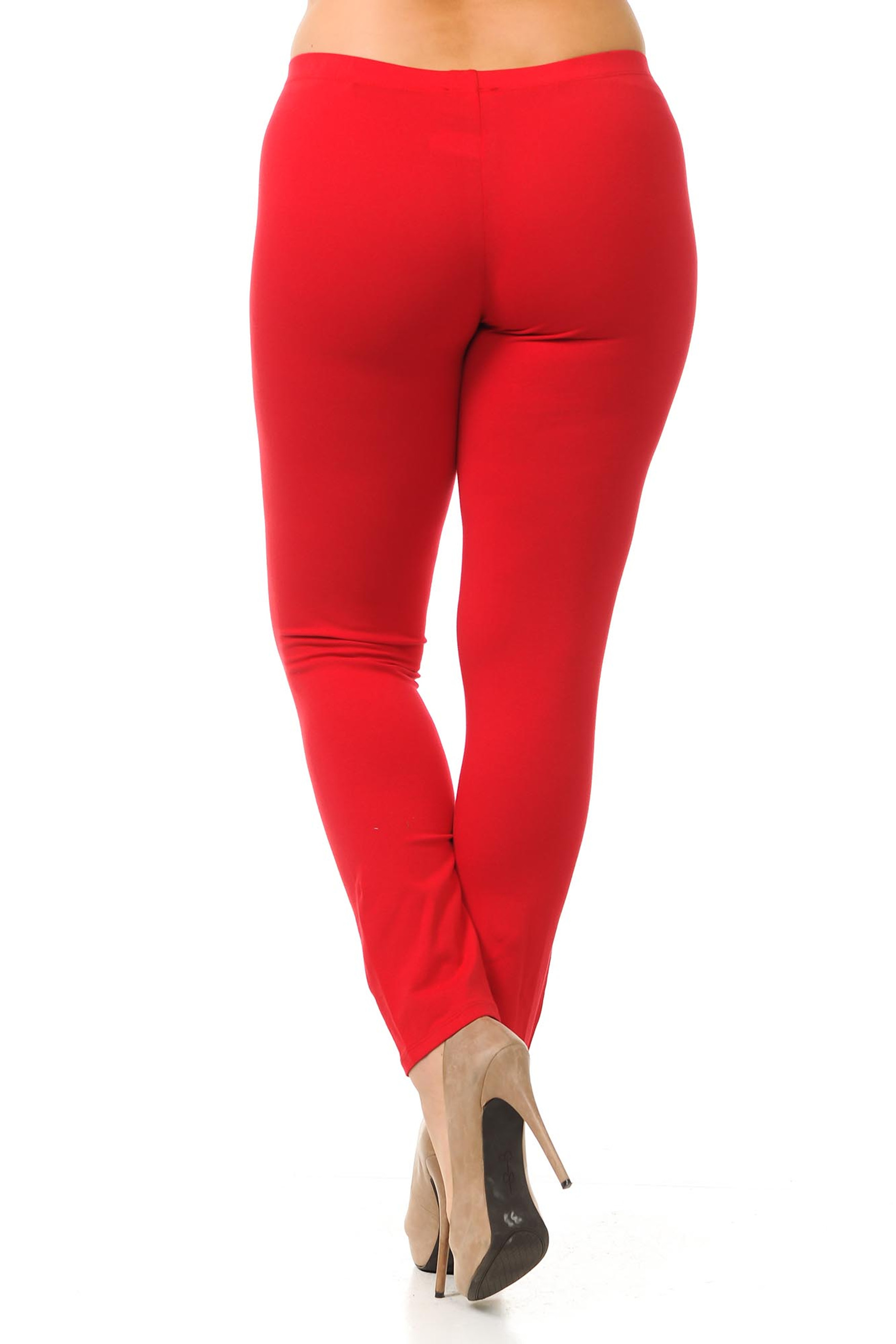 Rear view image of red made in USA plus size cotton leggings with a full length hem.