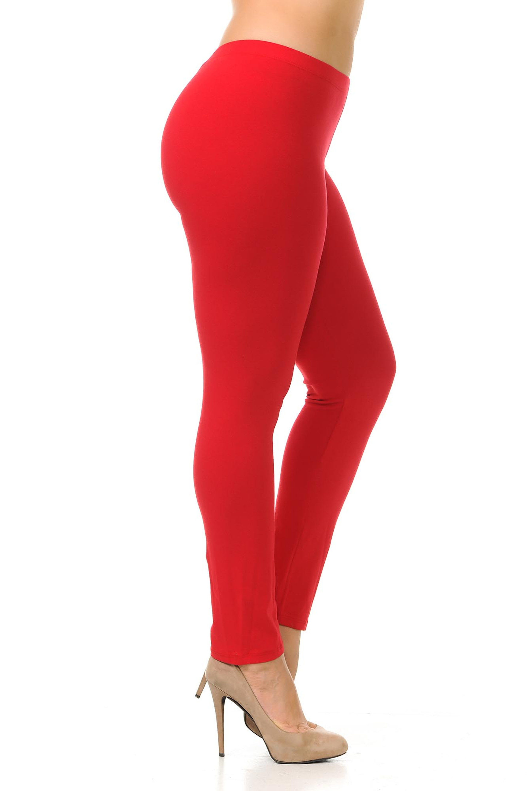 Right side view of red plus size USA Cotton Full Length Leggings.