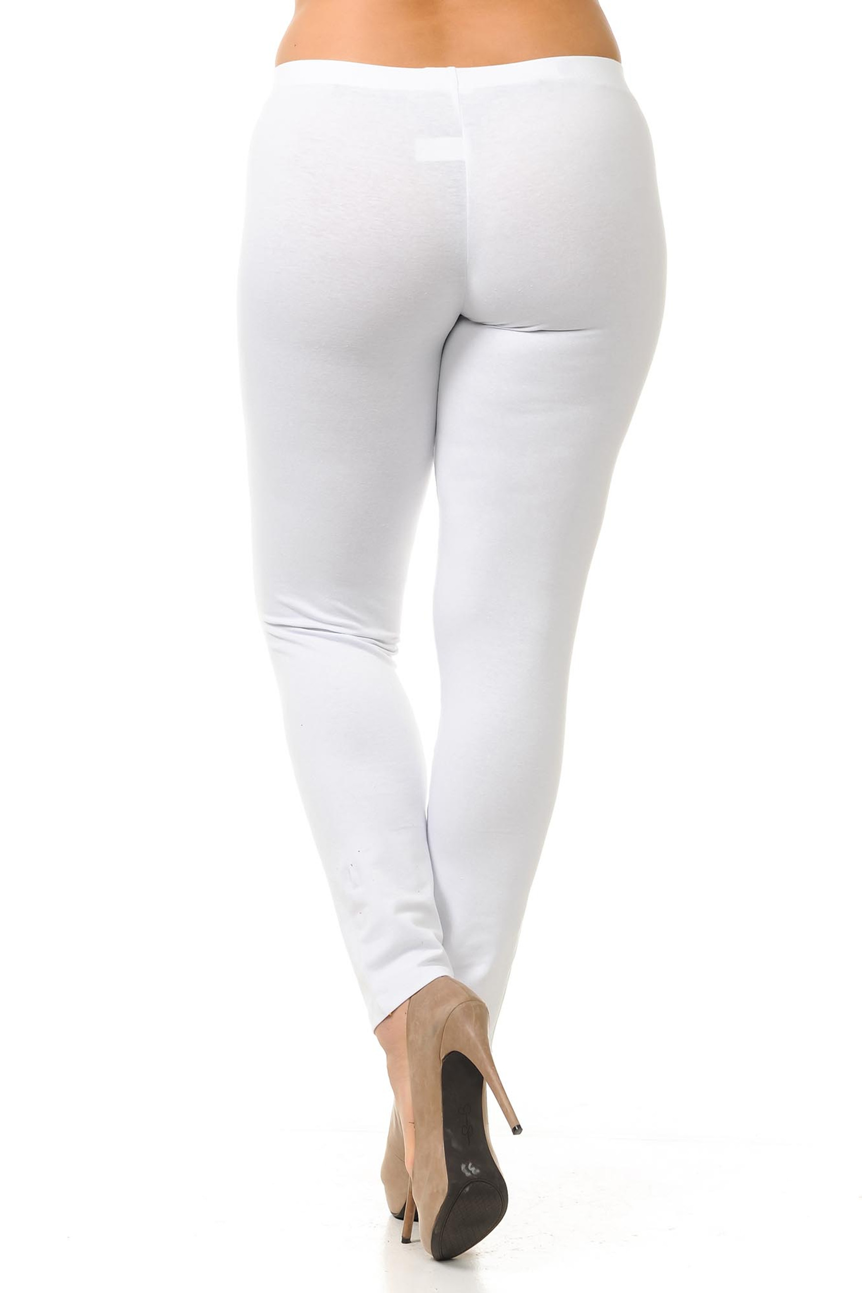 Back view of white made in the USA plus size cotton full length leggings