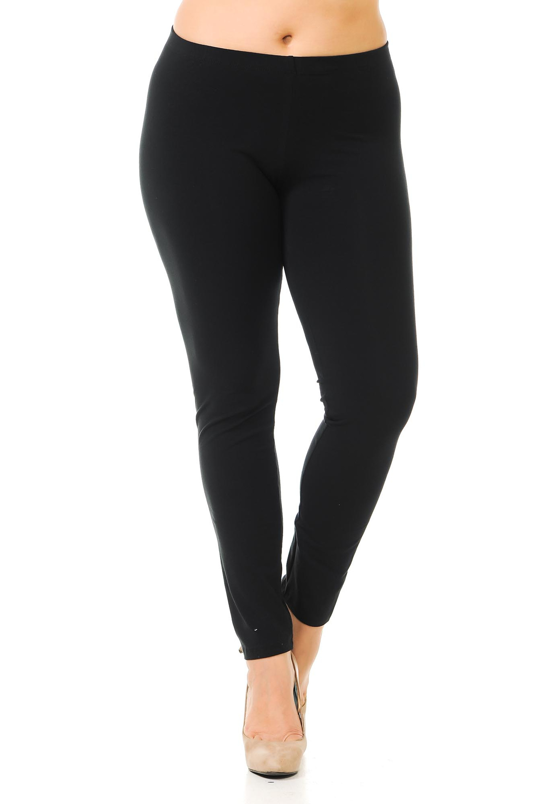 Front image of black full length USA cotton leggings made to fit sizes XL-3XL