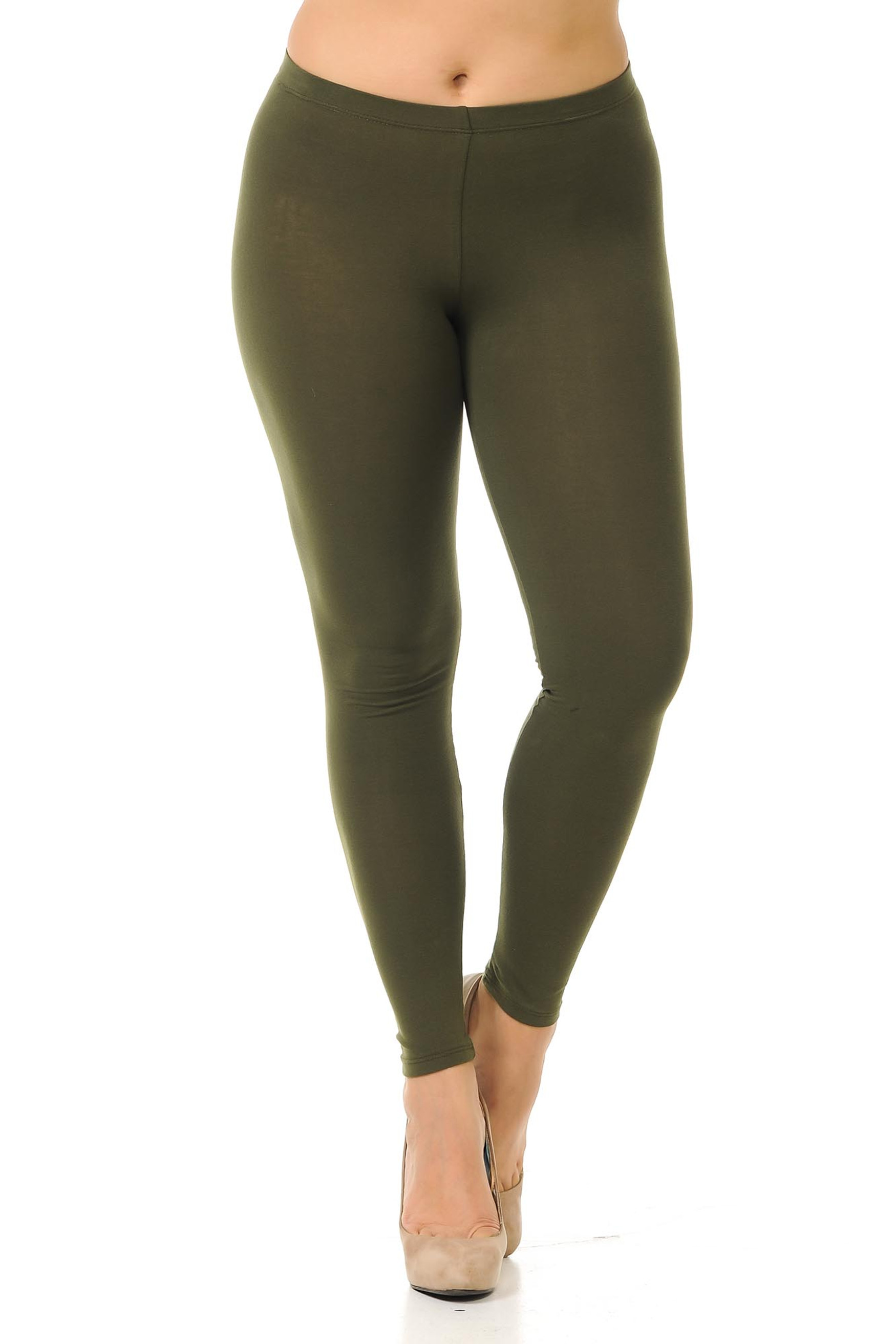 Front facing image of olive made in the USA cotton full length leggings made to fit sizes XL-3XL