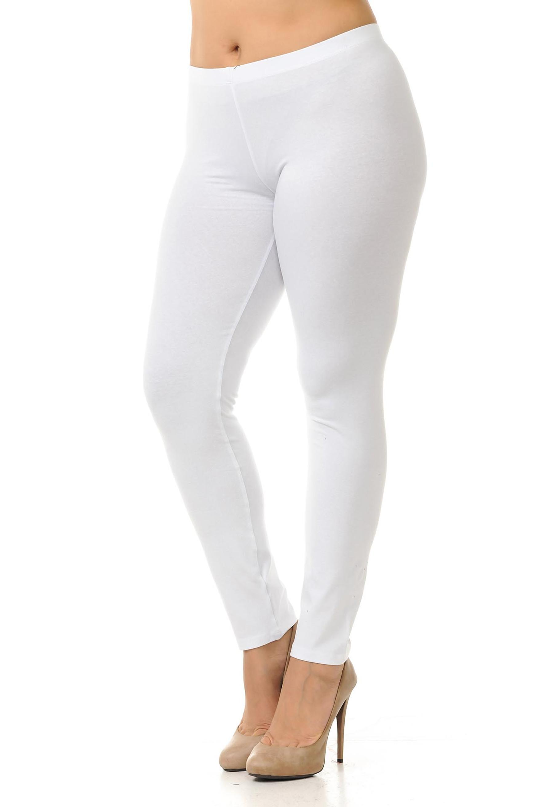 45 degree angled view of white plus size qUSA Cotton Full Length Leggings