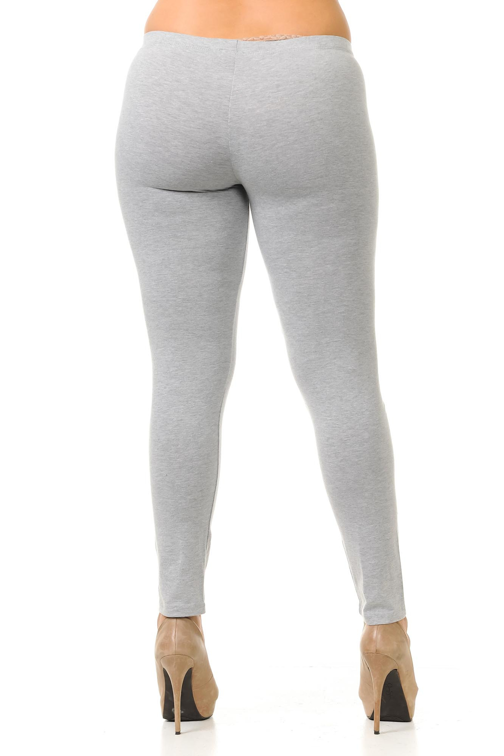 Rear view image of Heather Gray USA Cotton Full Length Leggings - Plus Size