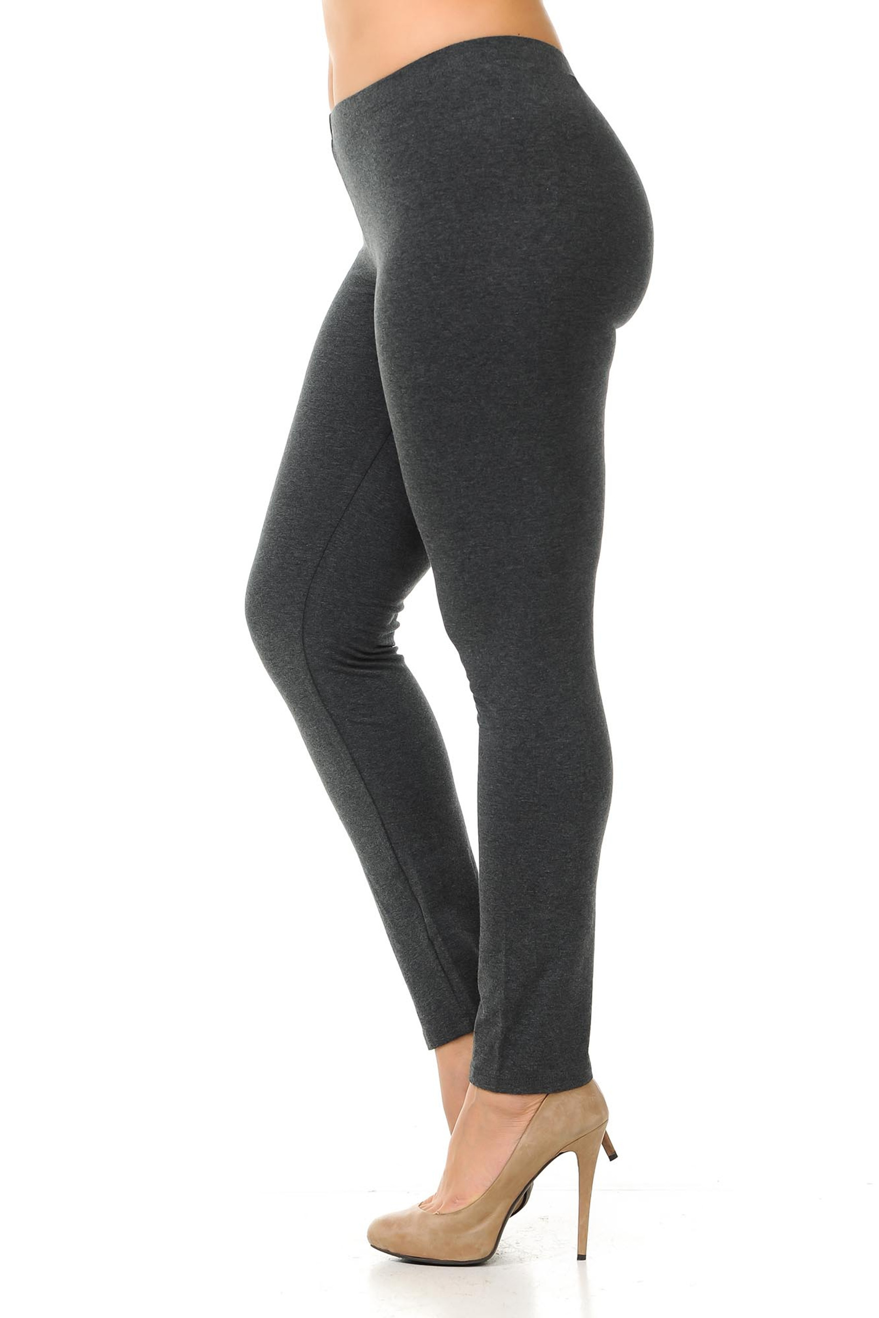 Left side view of  charcoal plus size USA Cotton Full Length Leggings.