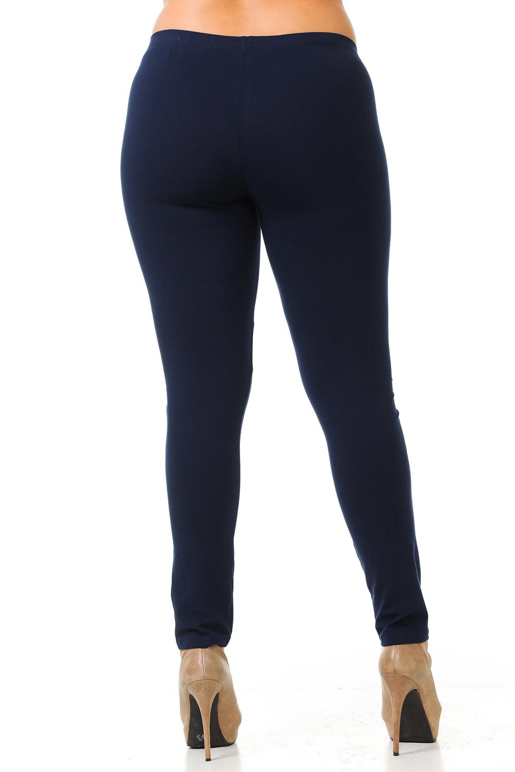 Rear view image of Navy USA Cotton Full Length Leggings - Plus Size