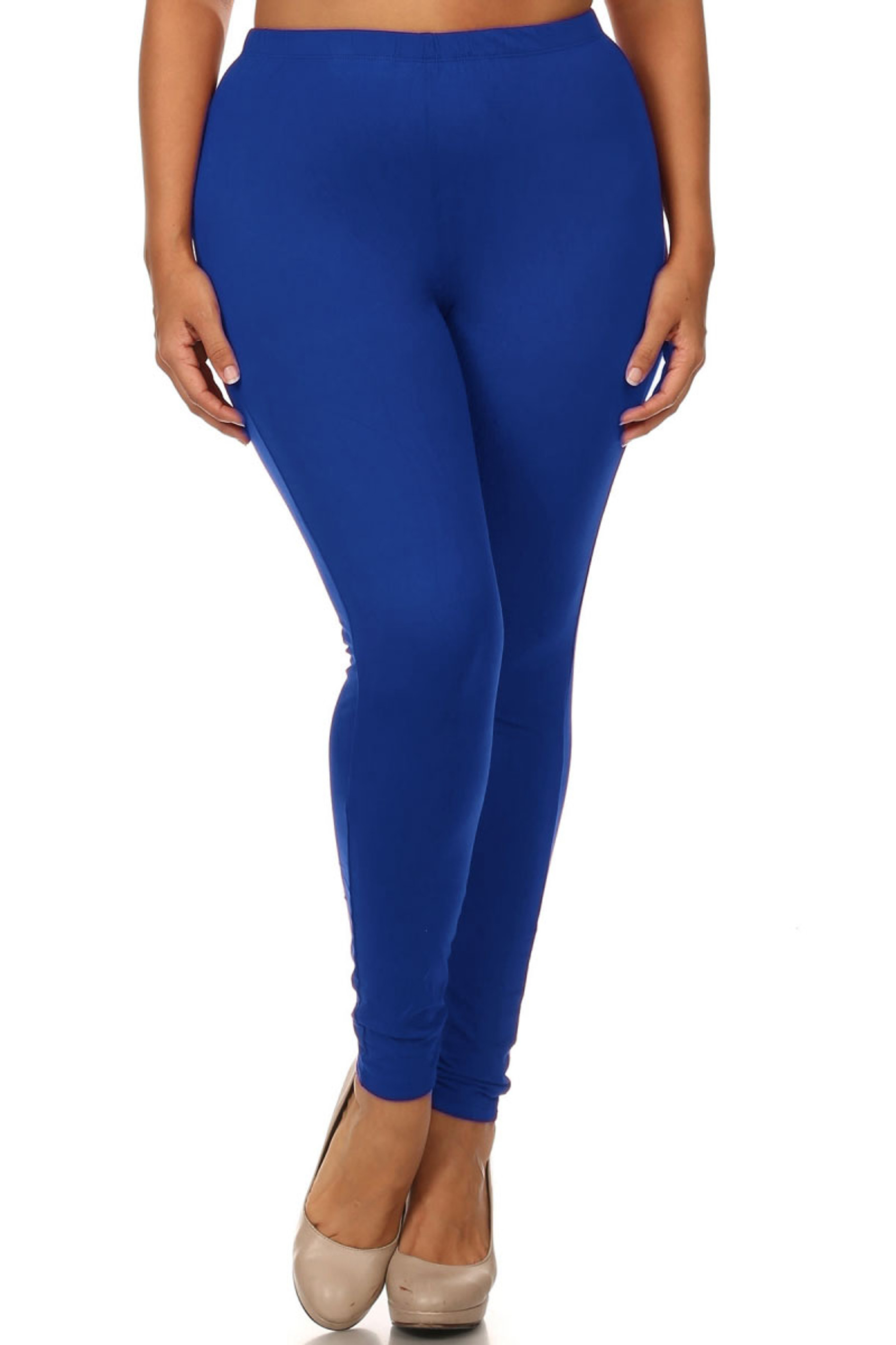 Front view of made in the USA blue full length plus size cotton leggings with an elastic waist that comes up to about mid rise.
