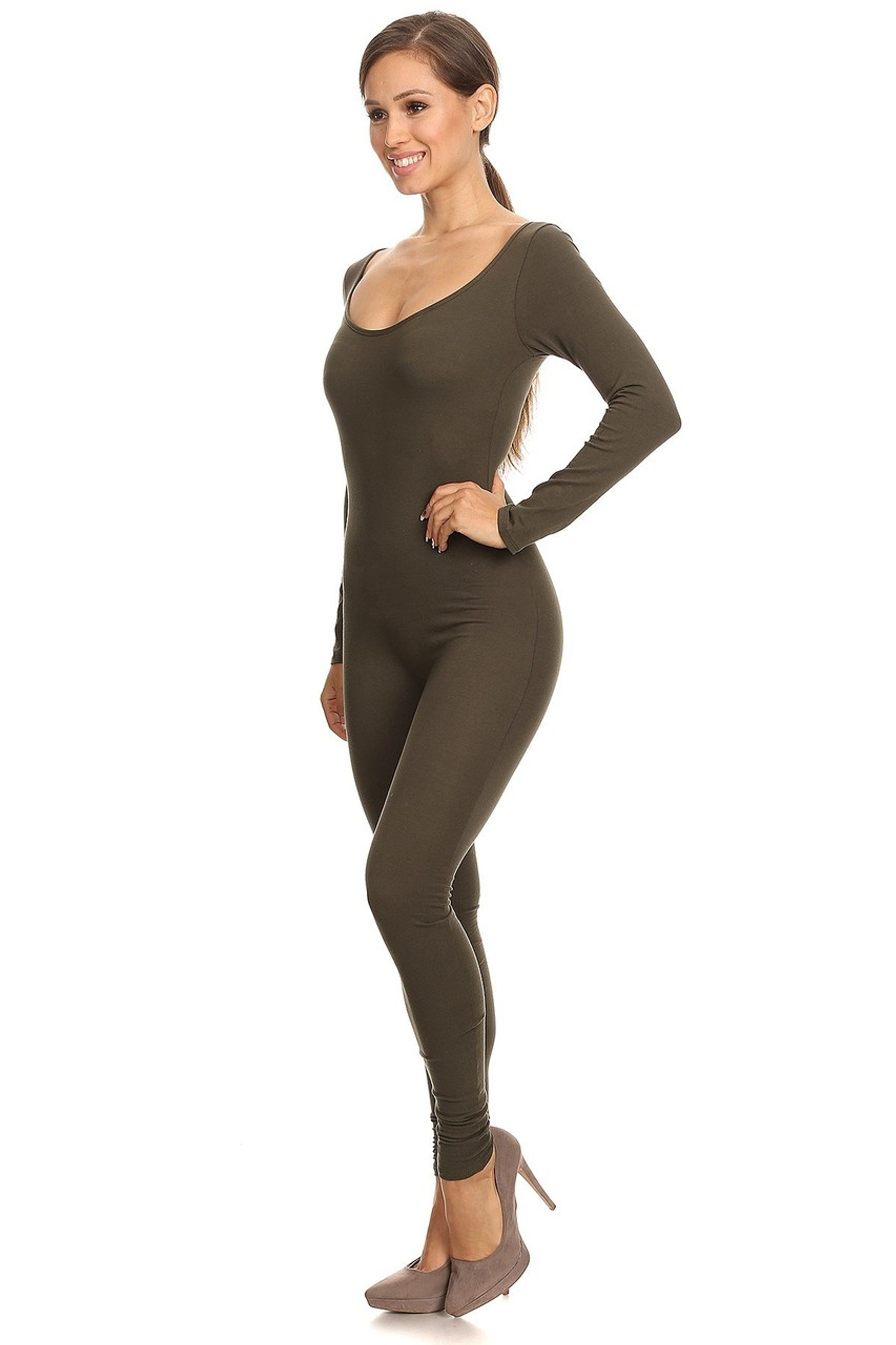 Left Side Image of USA Full Long Sleeve Cotton Jumpsuit