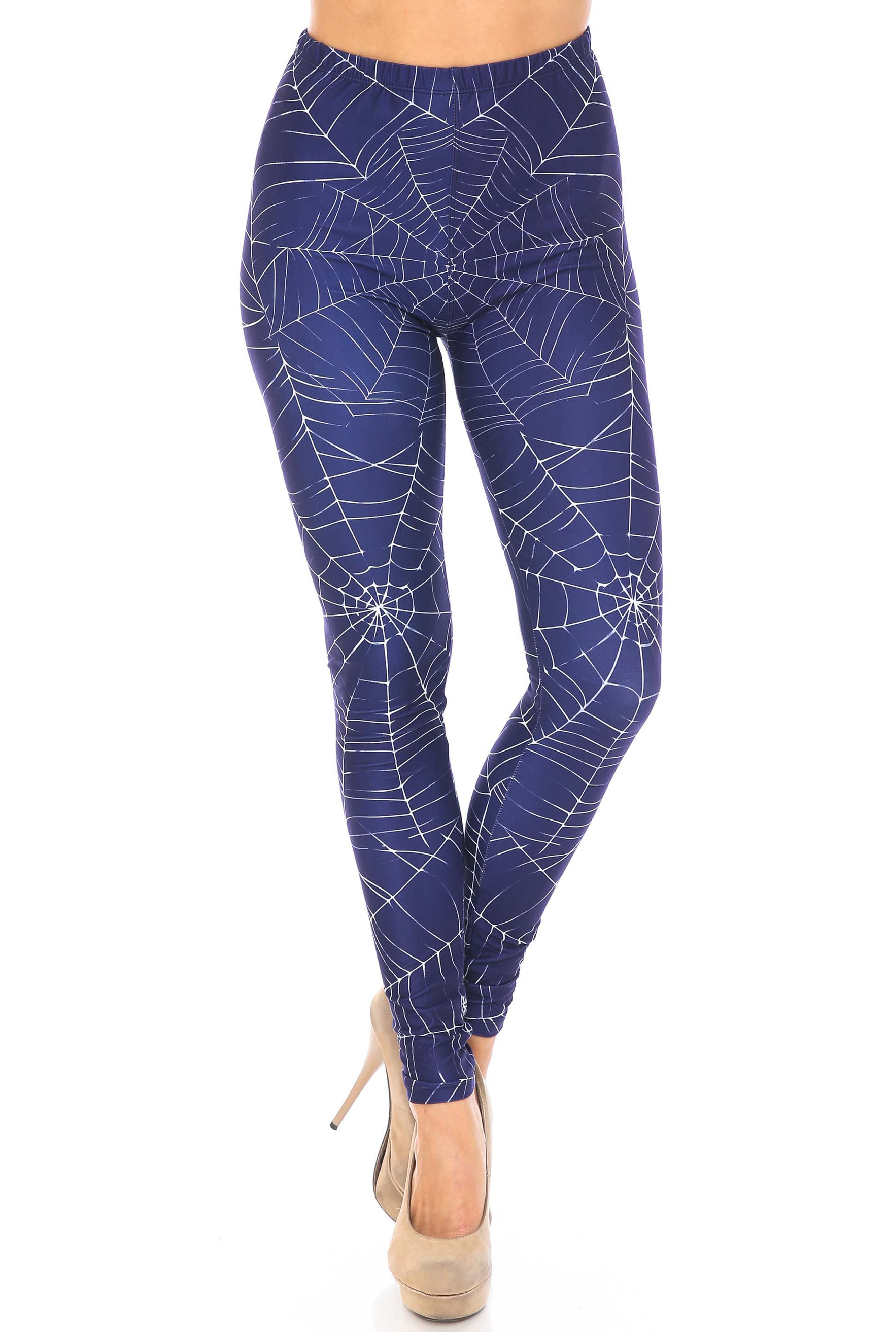 Front Legs Crossed Creamy Soft Spiderwebs Halloween Extra Plus Size Leggings - 3X-5X - By USA Fashion™
