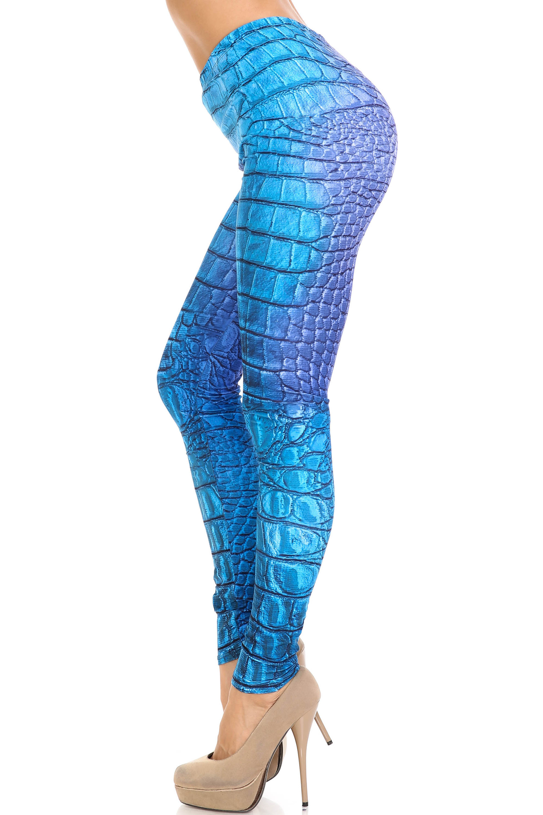 Creamy Soft Vibrant Blue Reptile Extra Plus Size Leggings - 3X-5X - By USA Fashion™