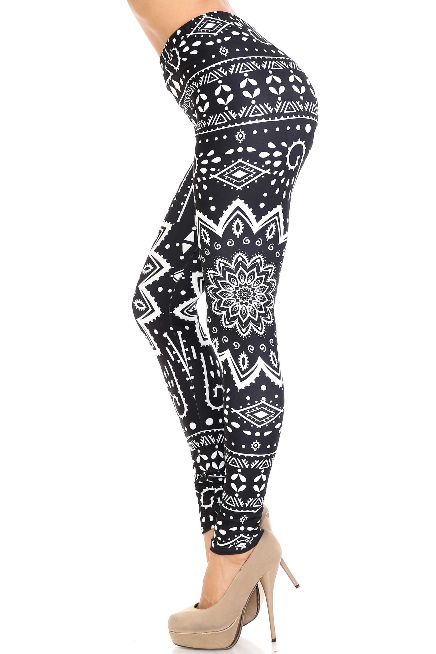 Creamy Soft Black Tribal Mandala Plus Size Leggings - By USA Fashion™