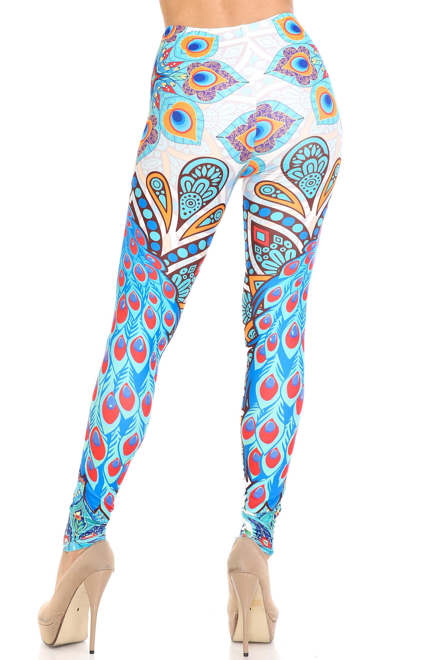 Creamy Soft Pristine Peacock Leggings - By USA Fashion™