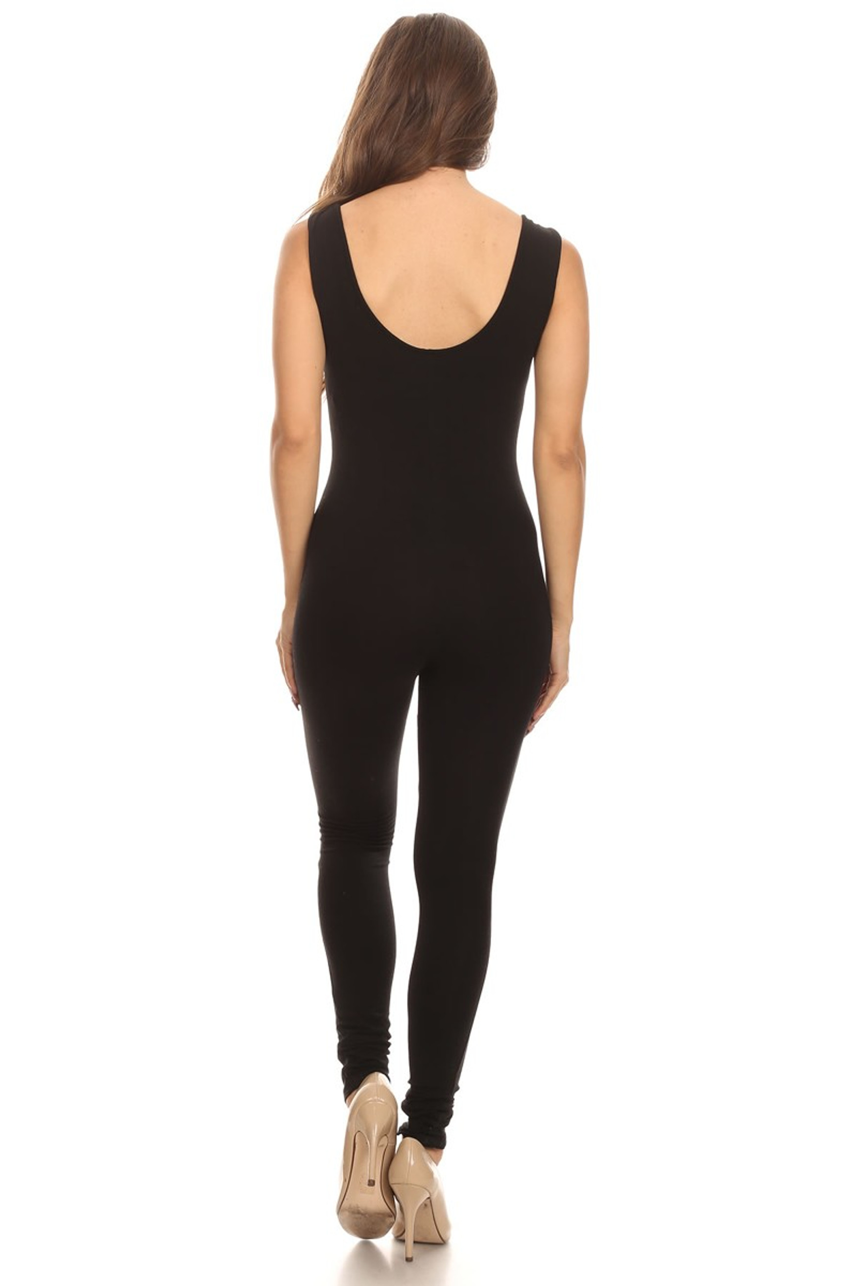 Back side image of Black USA Basic Cotton Jumpsuit