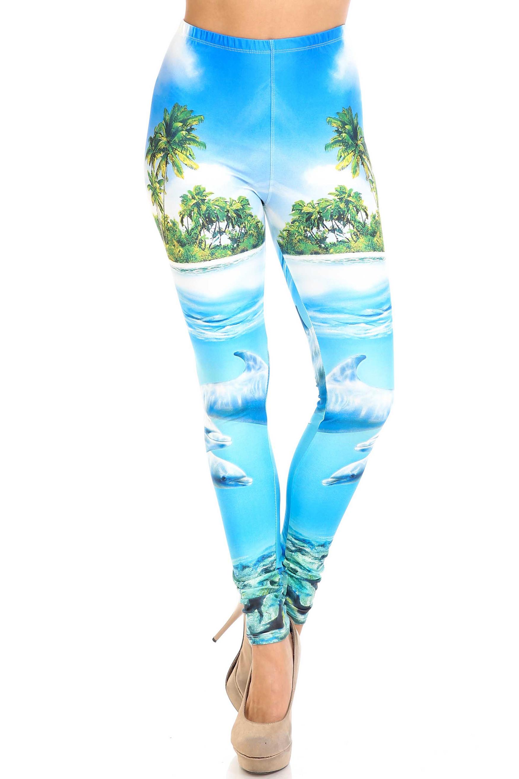 Creamy Soft Dolphin Paradise Extra Plus Size Leggings - 3X-5X - By USA Fashion™