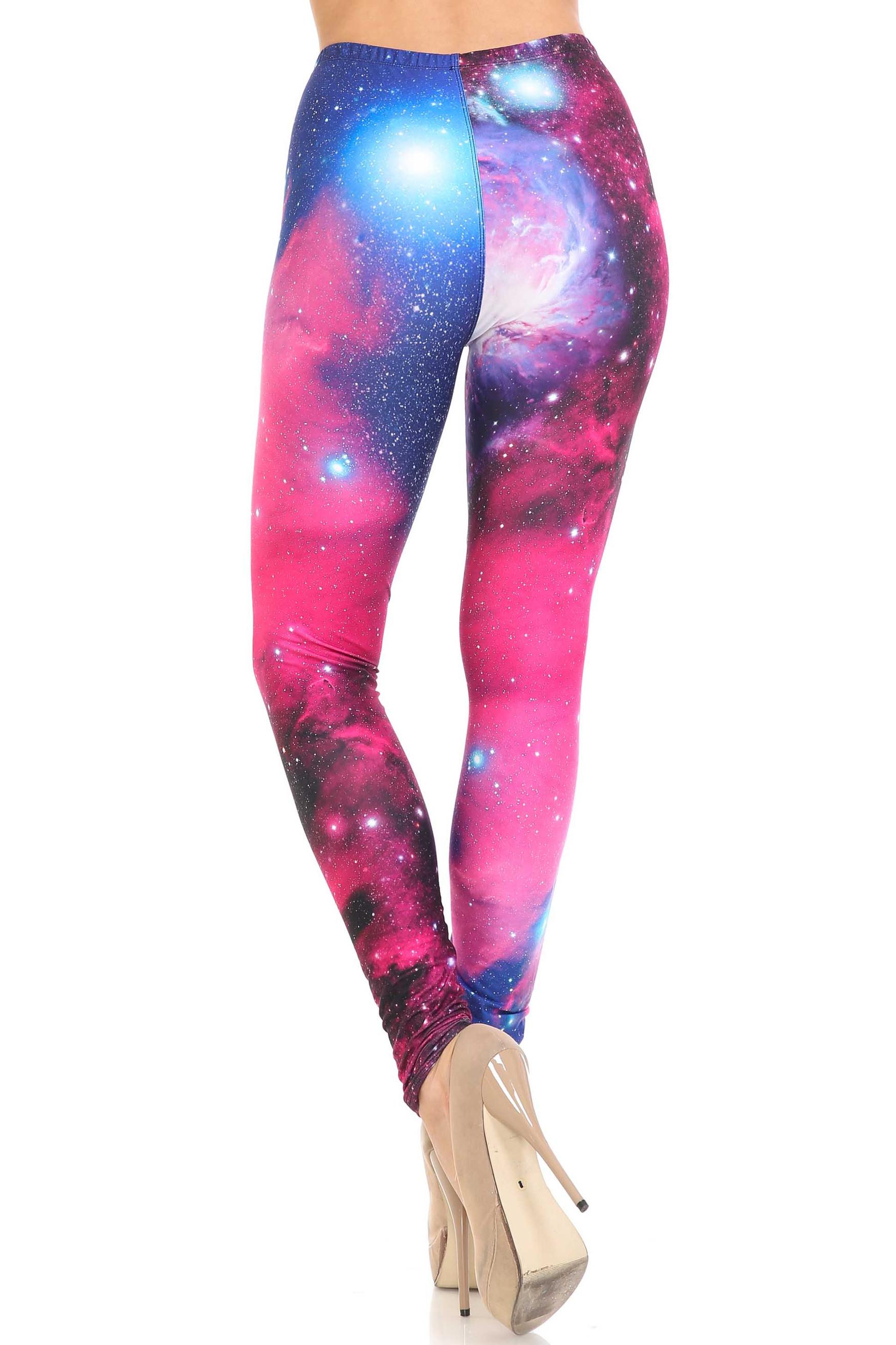 Creamy Soft Fuchsia Galaxy Plus Size Leggings - USA Fashion™