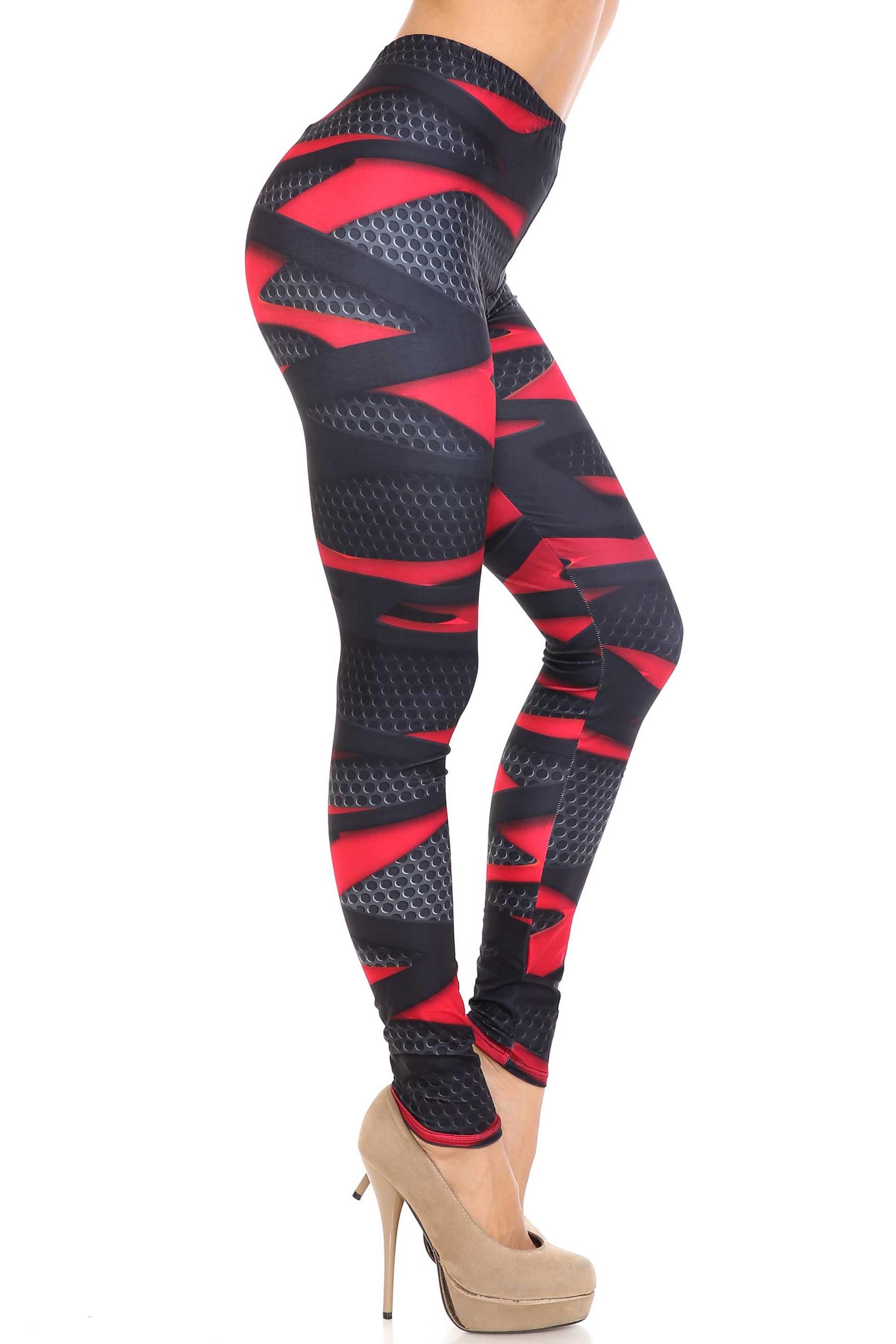 Creamy Soft Cascading 3D Sport Wrap Extra Plus Size Leggings - 3X-5X - USA Fashion™