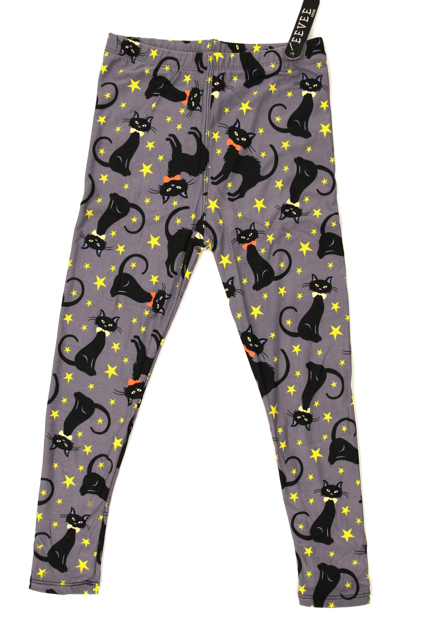 Buttery Soft Bow-tie Black Kitty Cats Kids Leggings